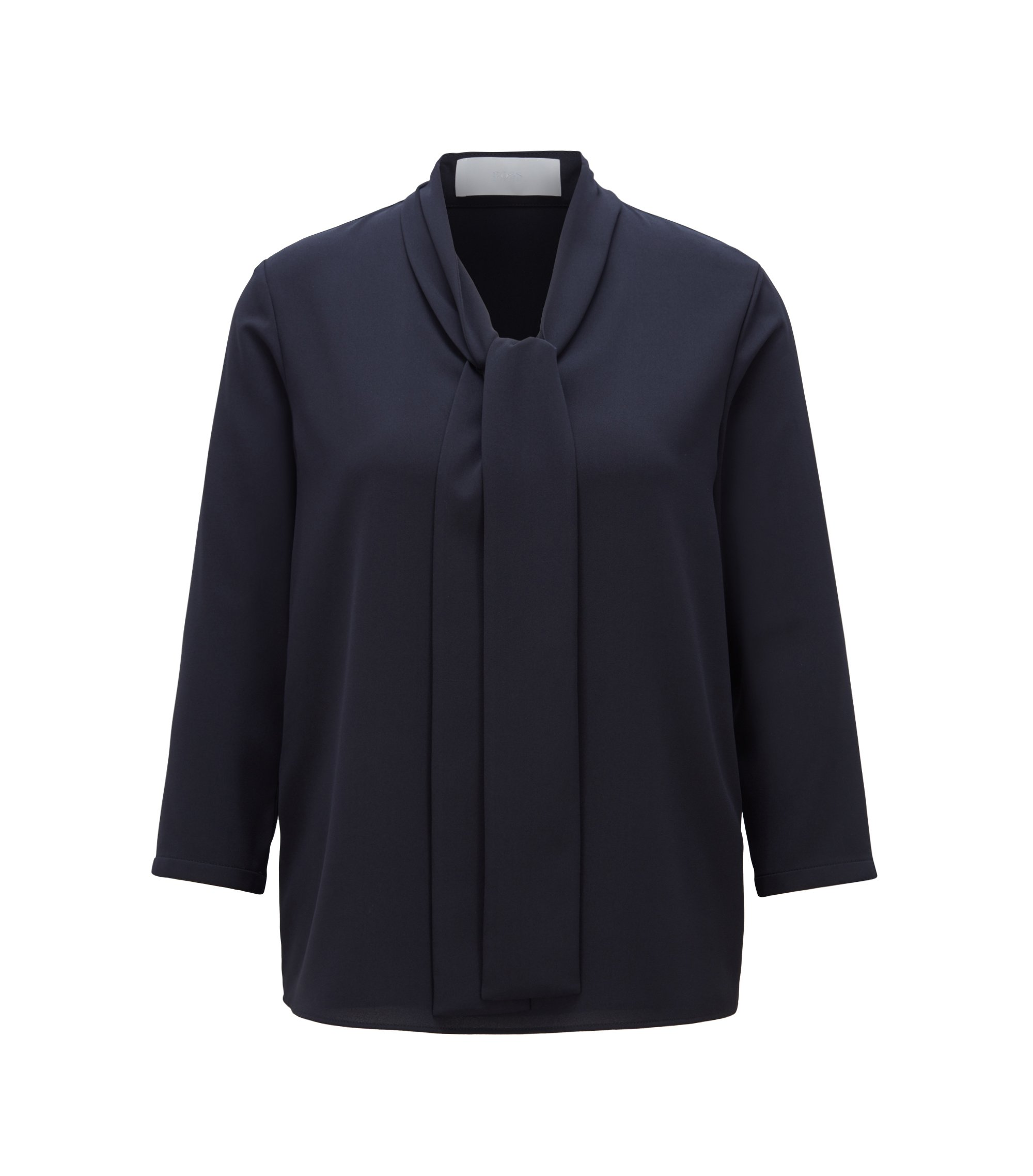 Lightweight blouse in stretch crepe with tie neck, Dark Blue