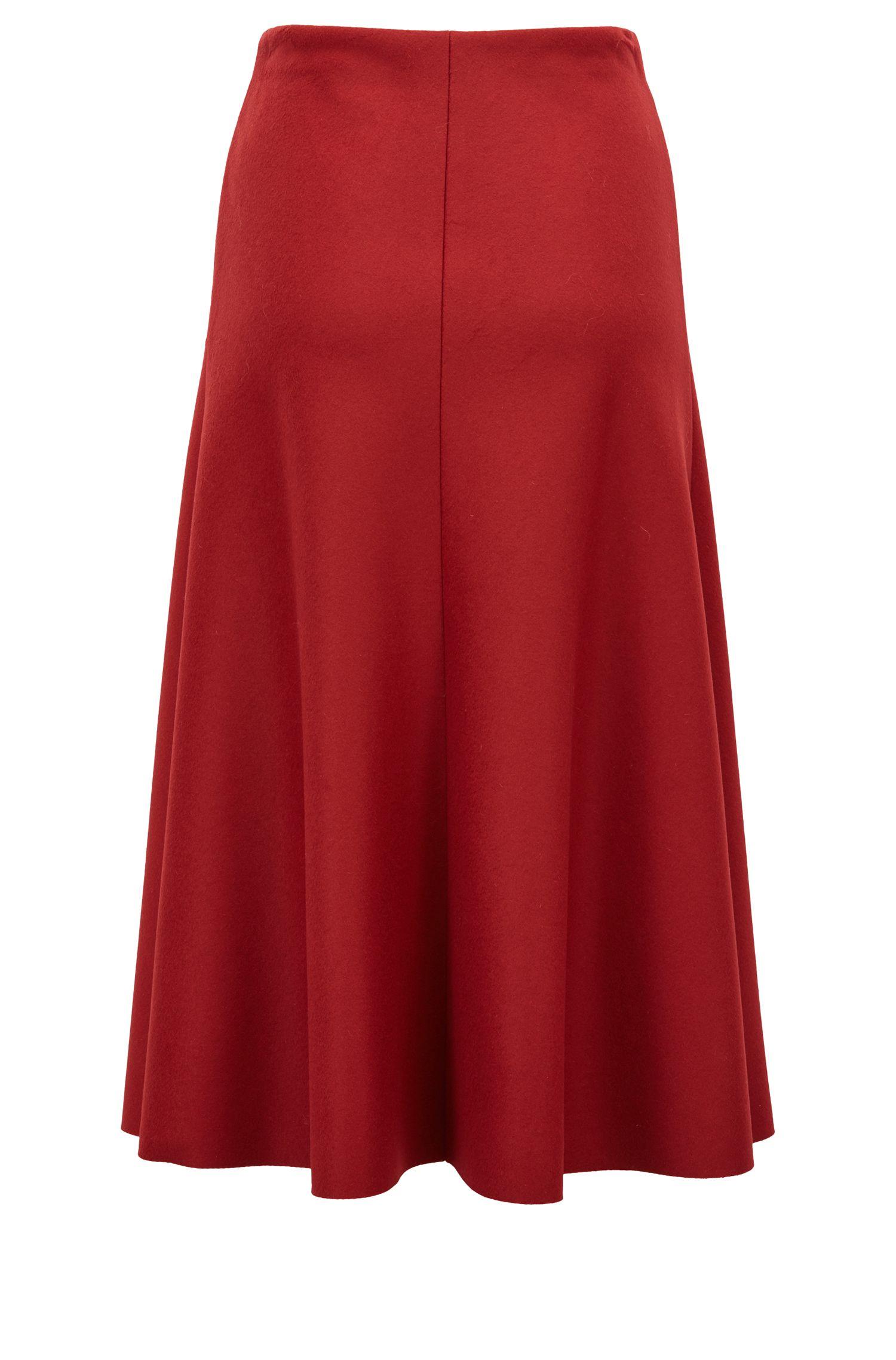 Jupe mi-longue évasée en laine vierge italienne et cachemire, Rouge sombre