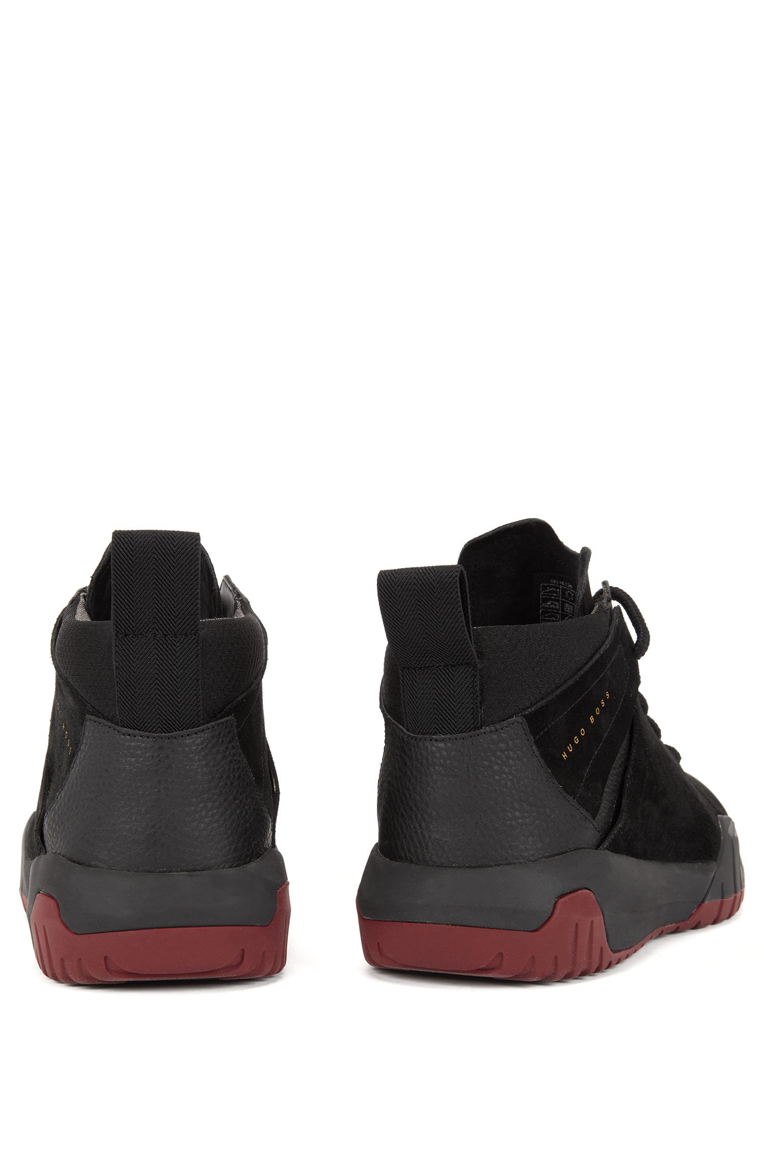 High-top trainers with calf-leather uppers, Black