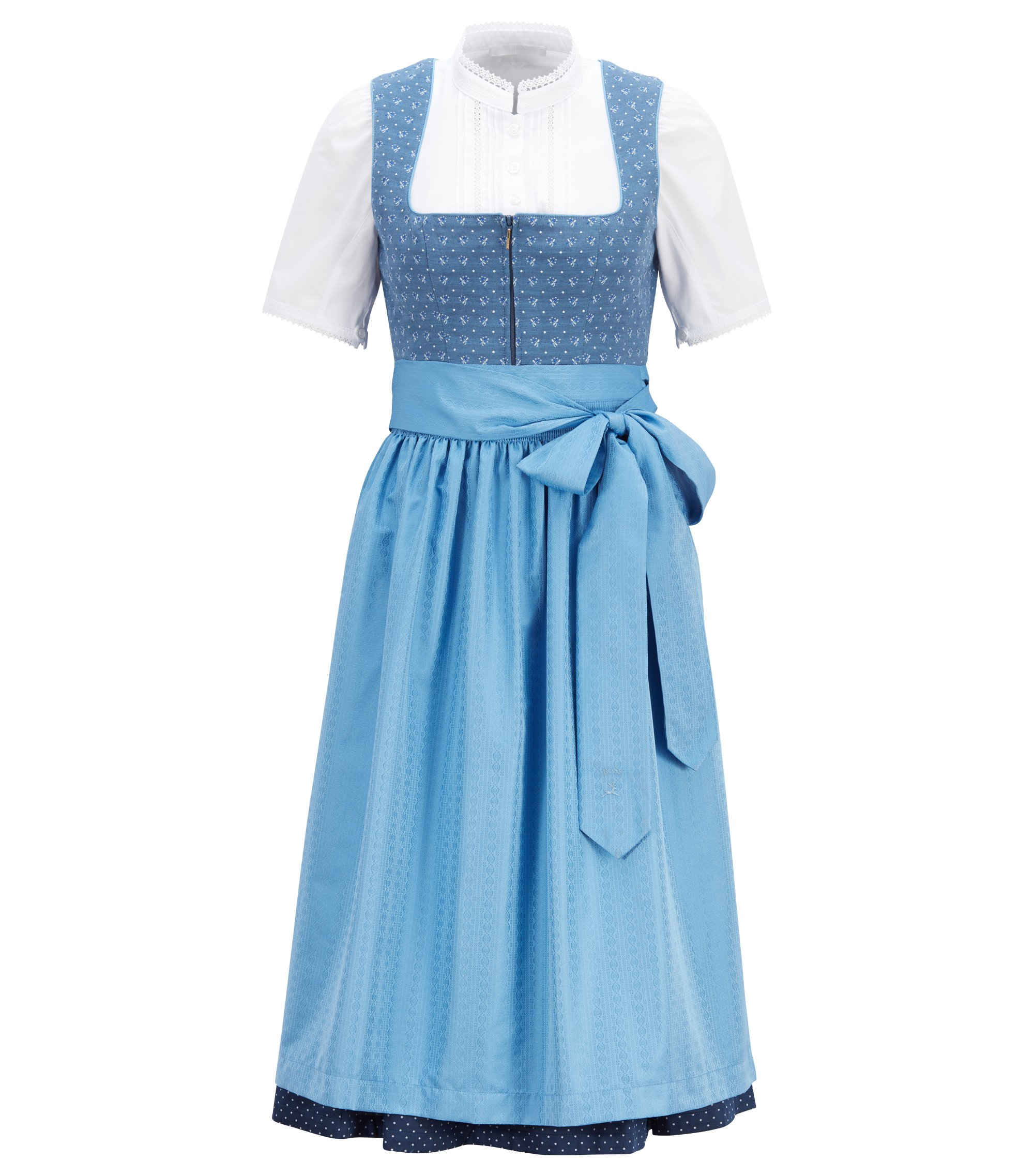Patterned dirndl with lace-trimmed blouse, Patterned