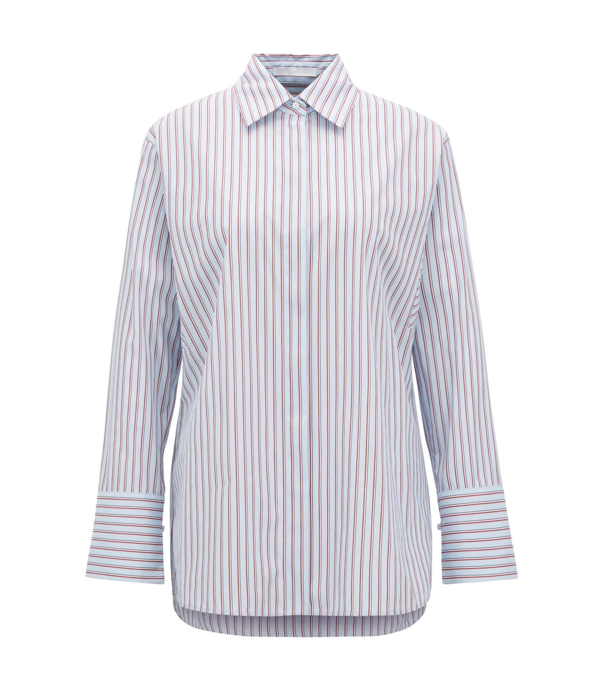 Relaxed-fit blouse with vertical stripe and wedge sleeve, Patterned
