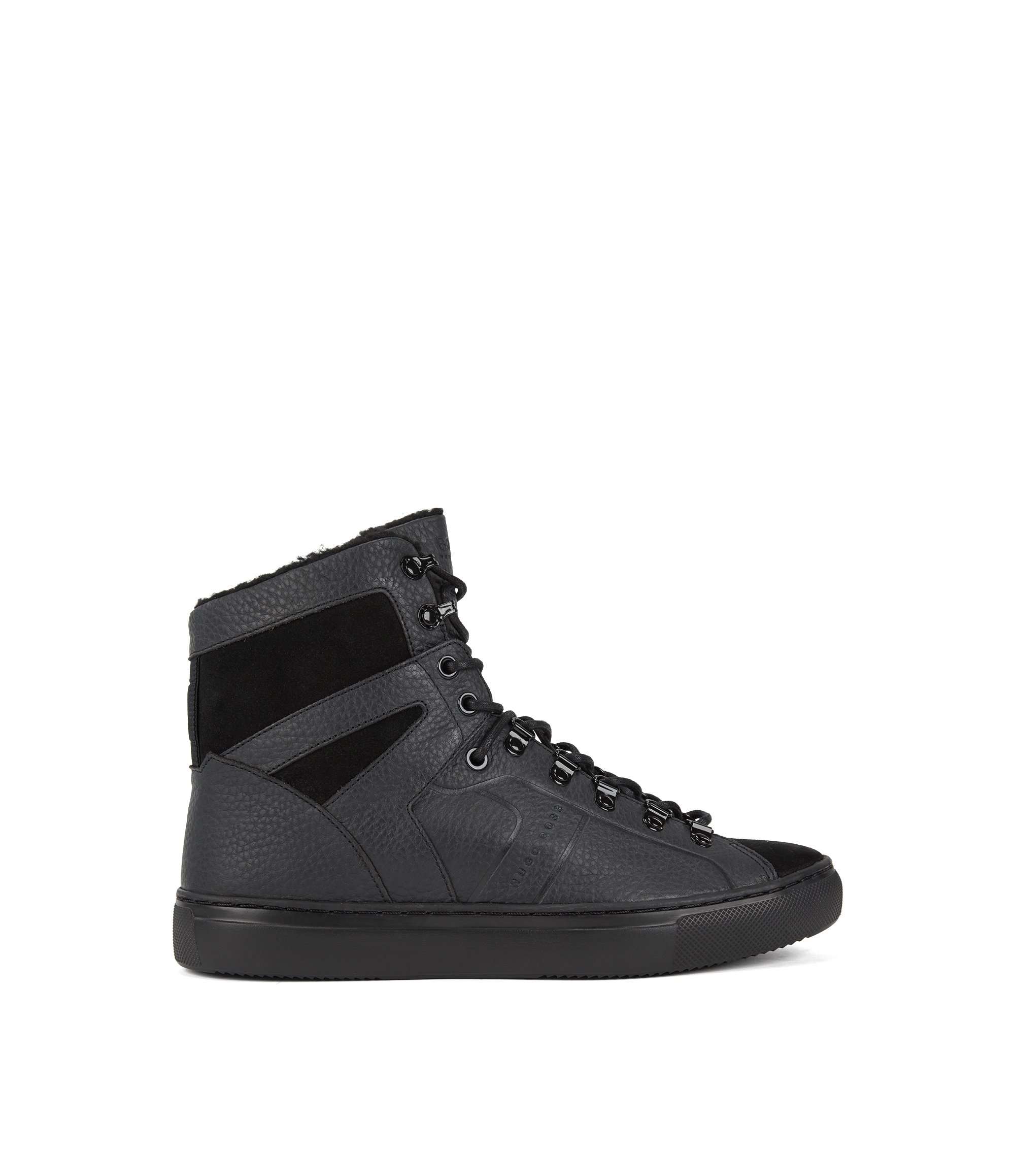 High-top trainers in leather with faux-fur lining, Black