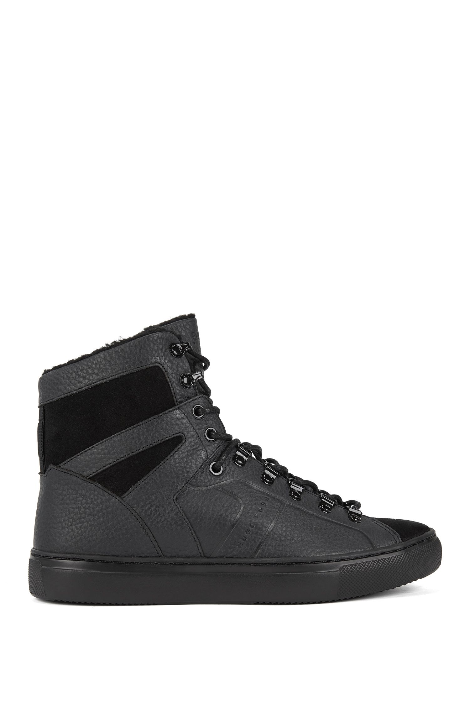 Sneakers high-top in pelle con fodera interna in pelliccia sintetica, Nero