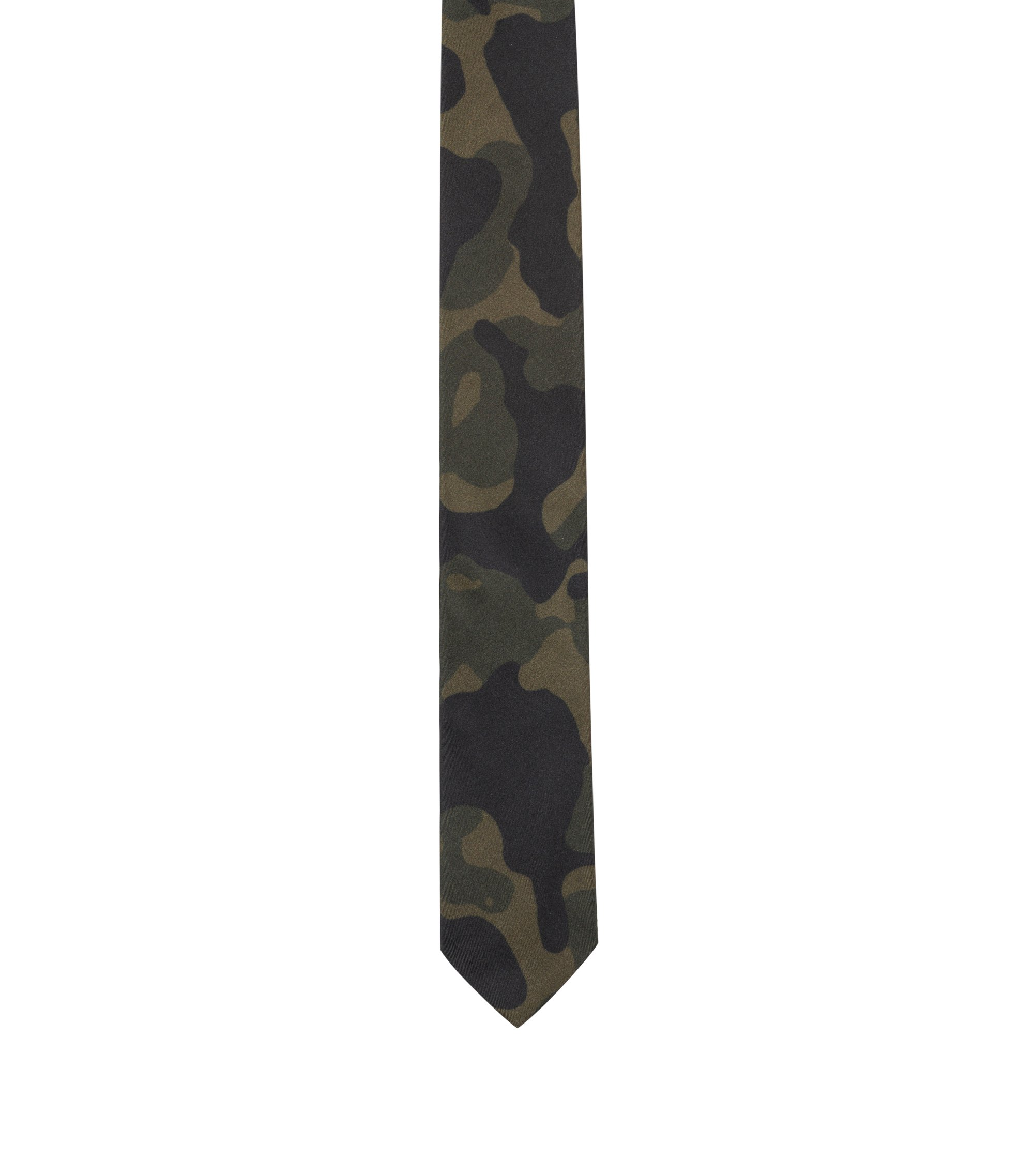Camouflage-print tie in silk, Dark Green