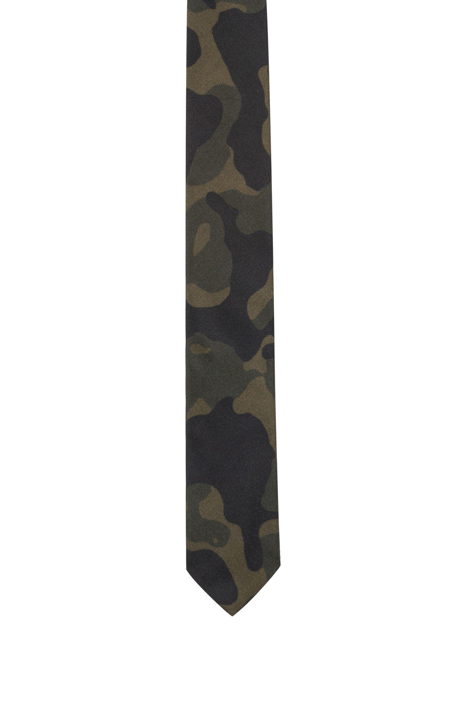 Cravate en soie à imprimé camouflage, Vert sombre