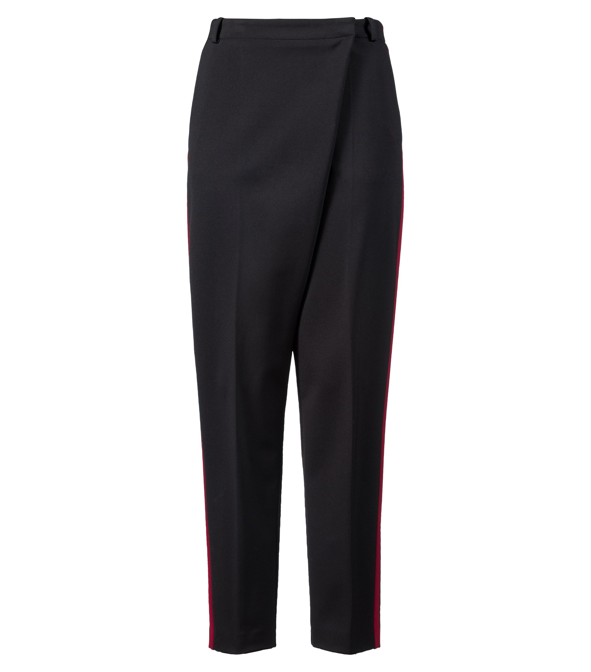 Relaxed-fit trousers in stretch fabric with wrap effect, Black