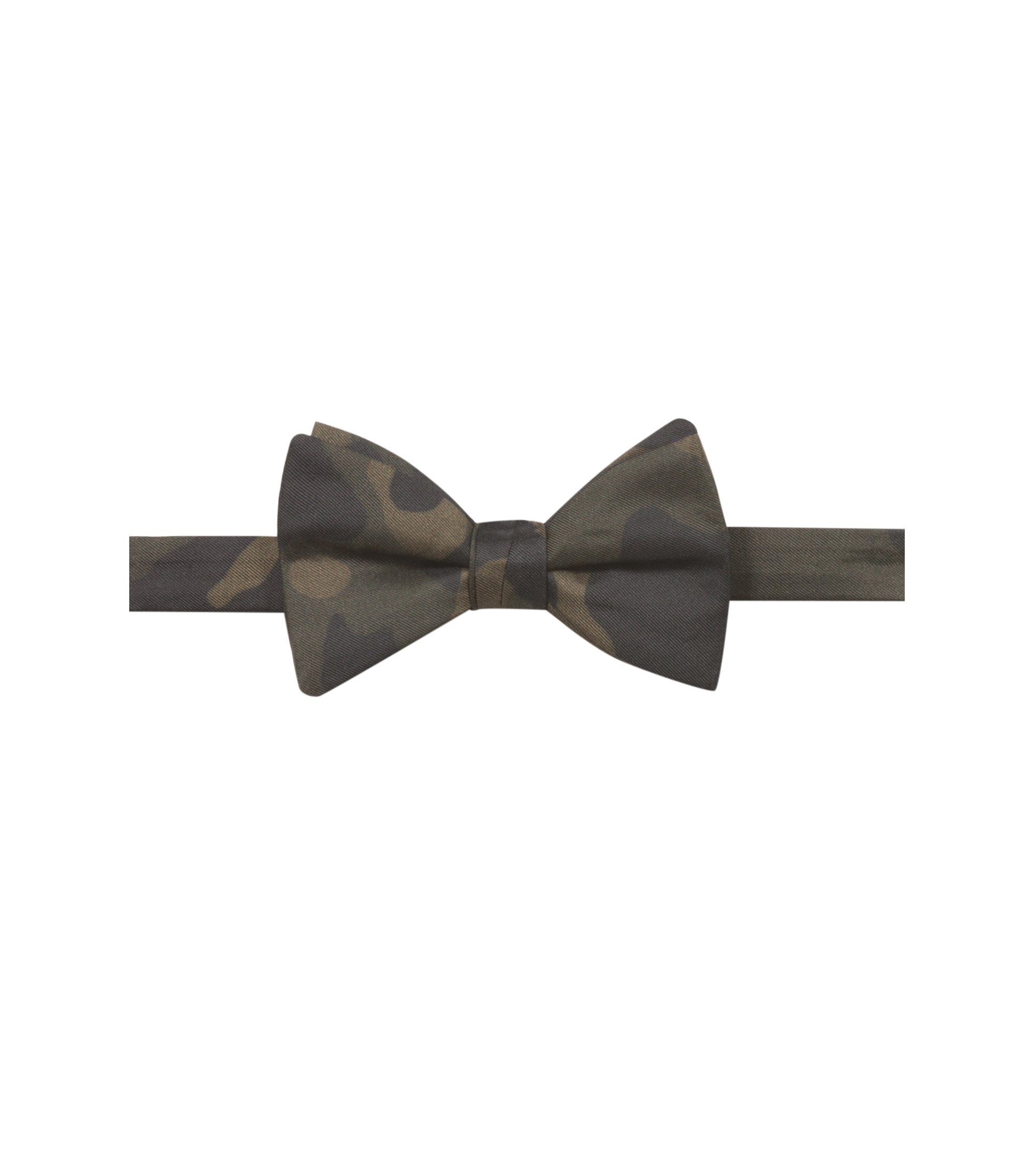 Bow tie in pure silk with camouflage print, Dark Green