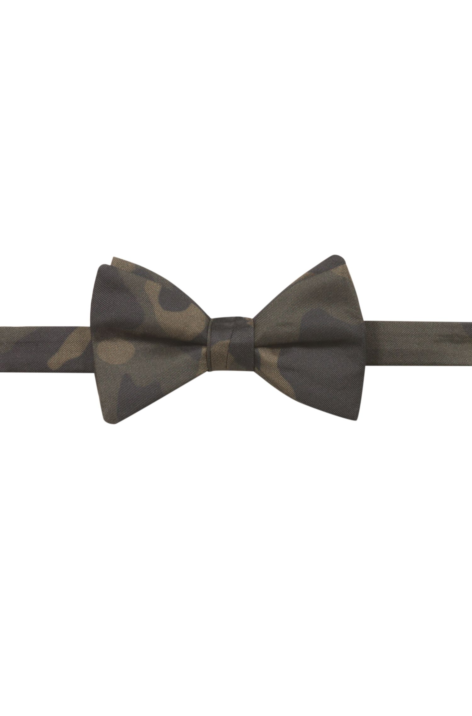 Bow tie in pure silk with camouflage print