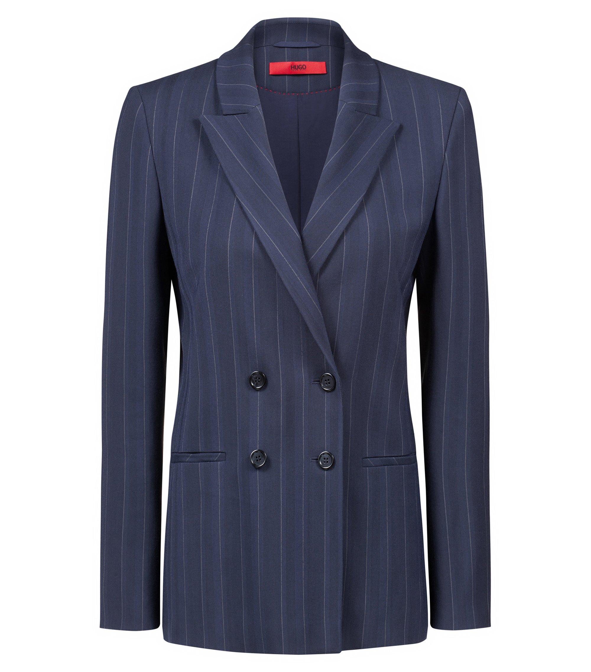 Blazer gessato a doppiopetto con taglio relaxed fit, Blu scuro