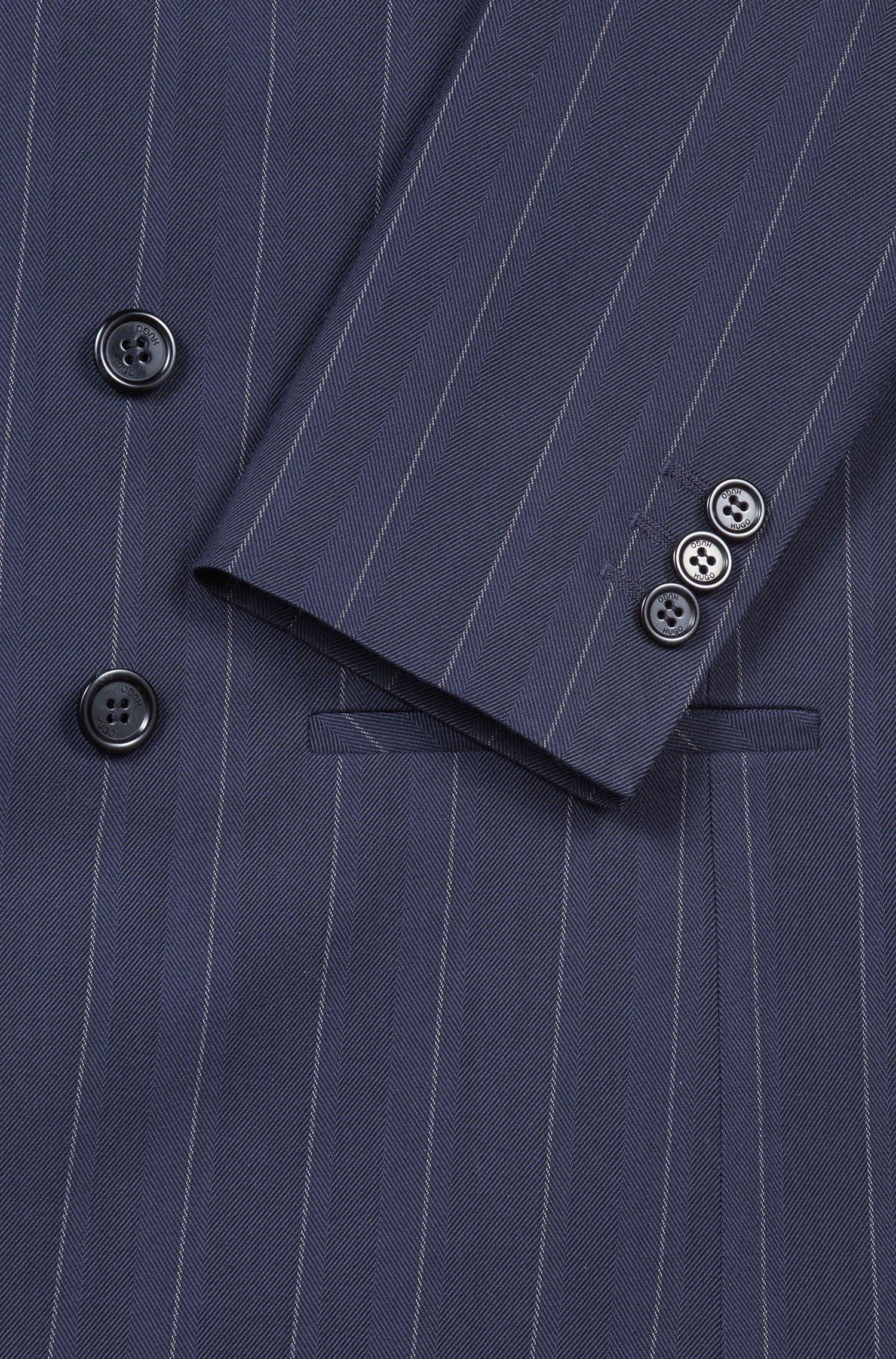 Blazer relaxed fit cruzado con diseño de raya diplomática, Azul oscuro