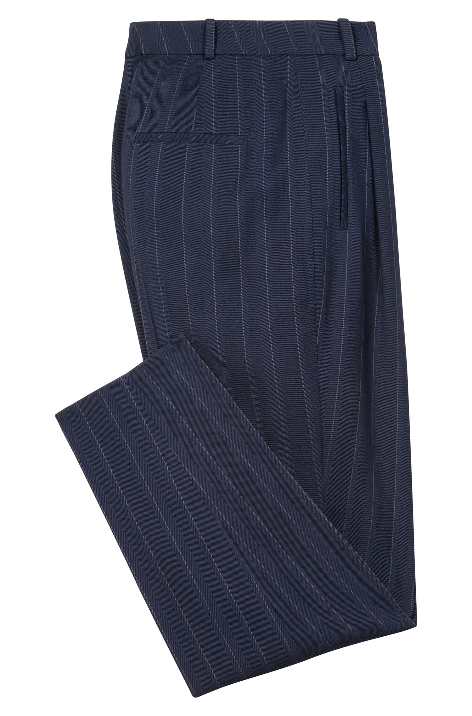 Tapered-fit pleated trousers in stretch pinstripe fabric, Dark Blue