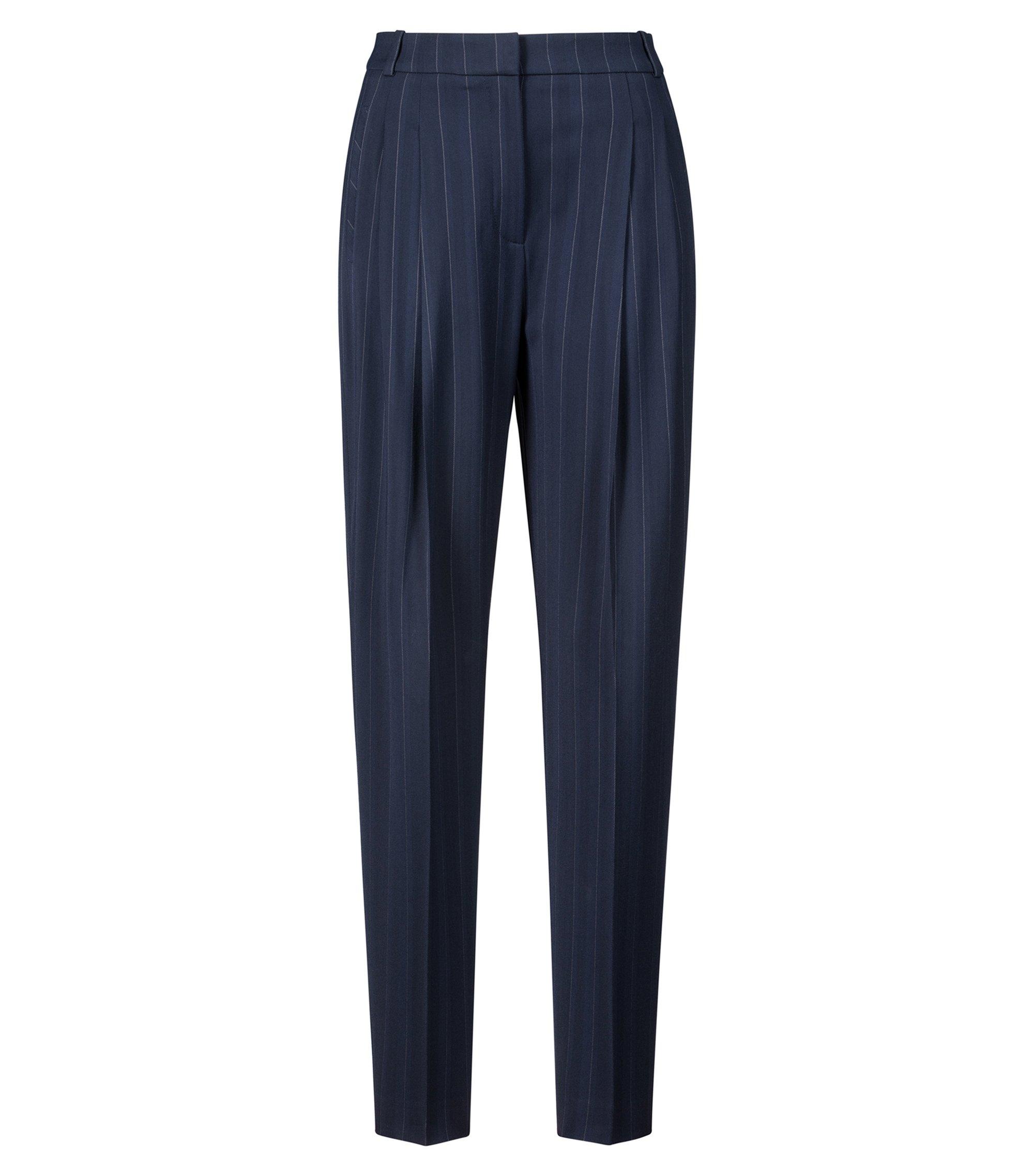 Pantaloni tapered fit con piega in tessuto gessato elasticizzato, Blu scuro
