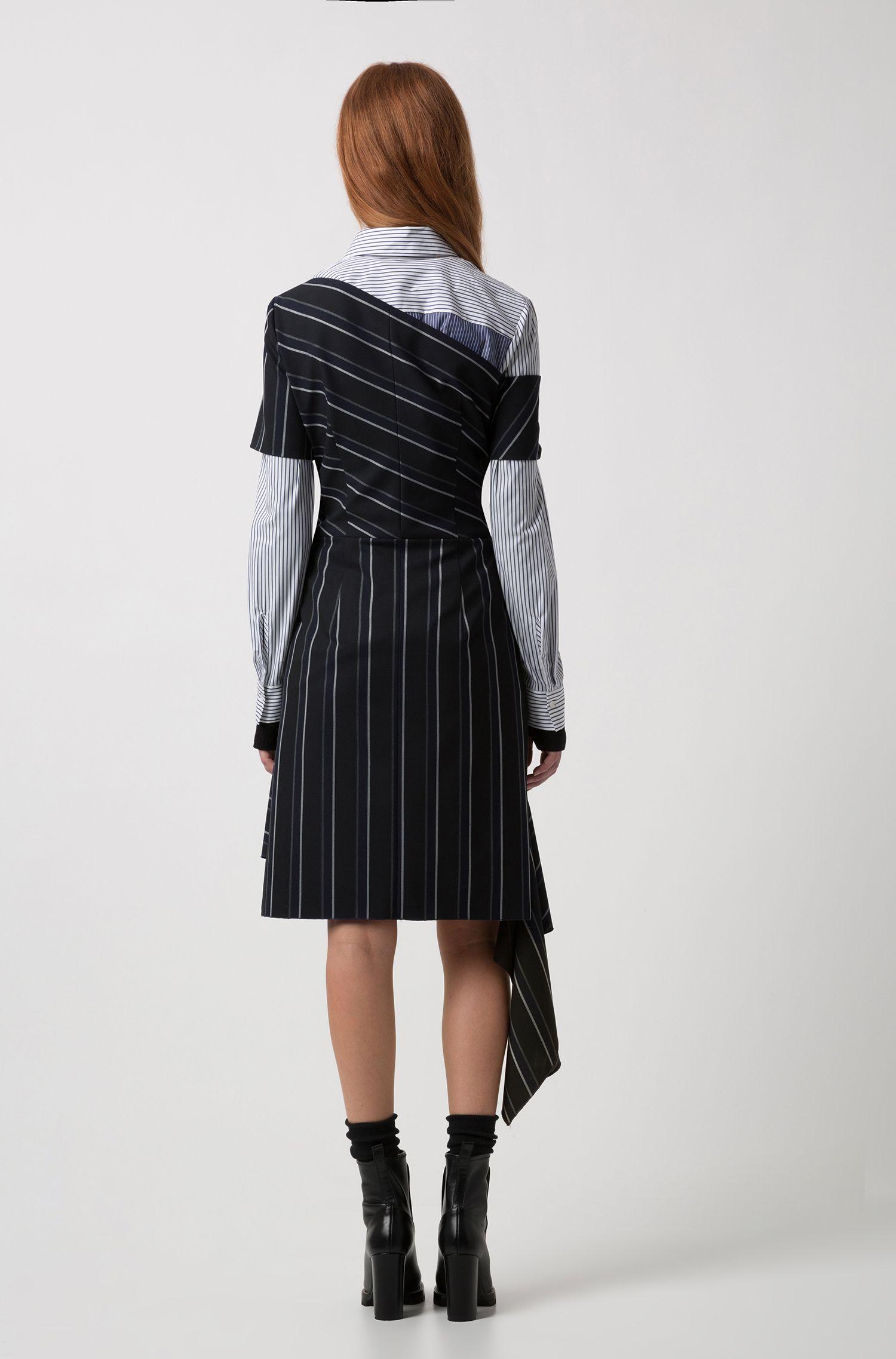 Robe à rayures tennis et détails asymétriques, Noir