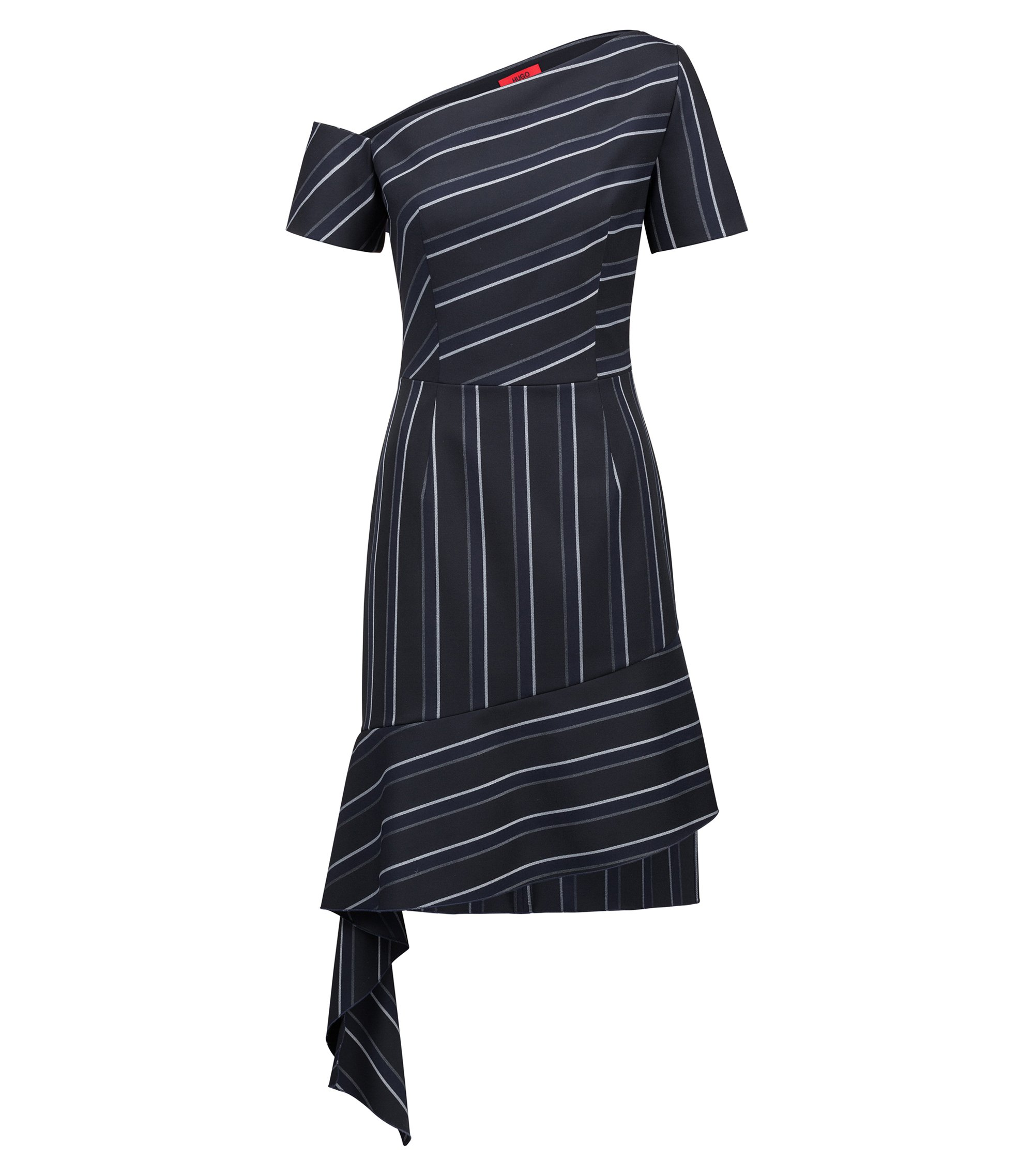 Pinstripe dress with asymmetric details, Black