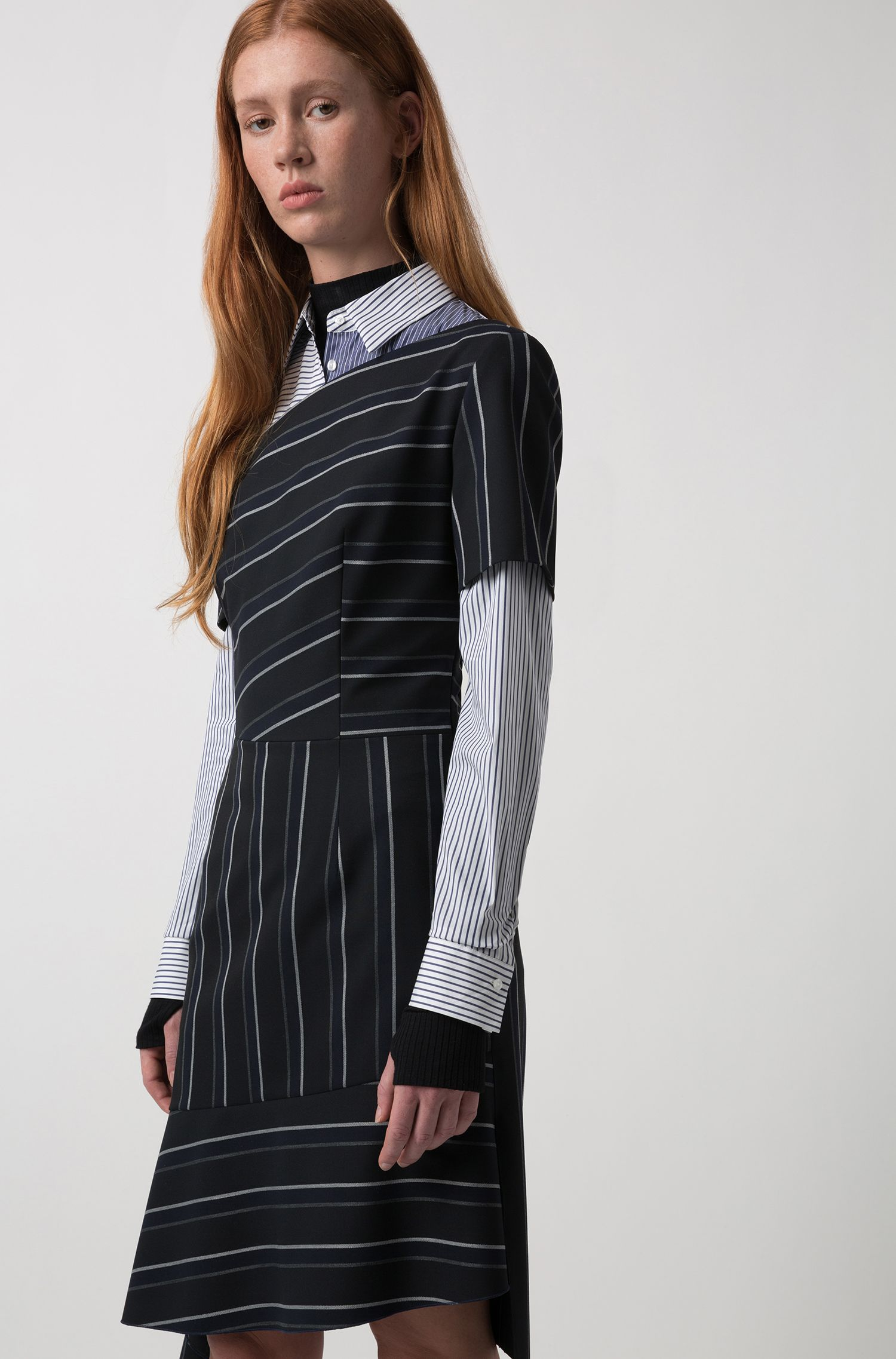 Pinstripe dress with asymmetric details, Black