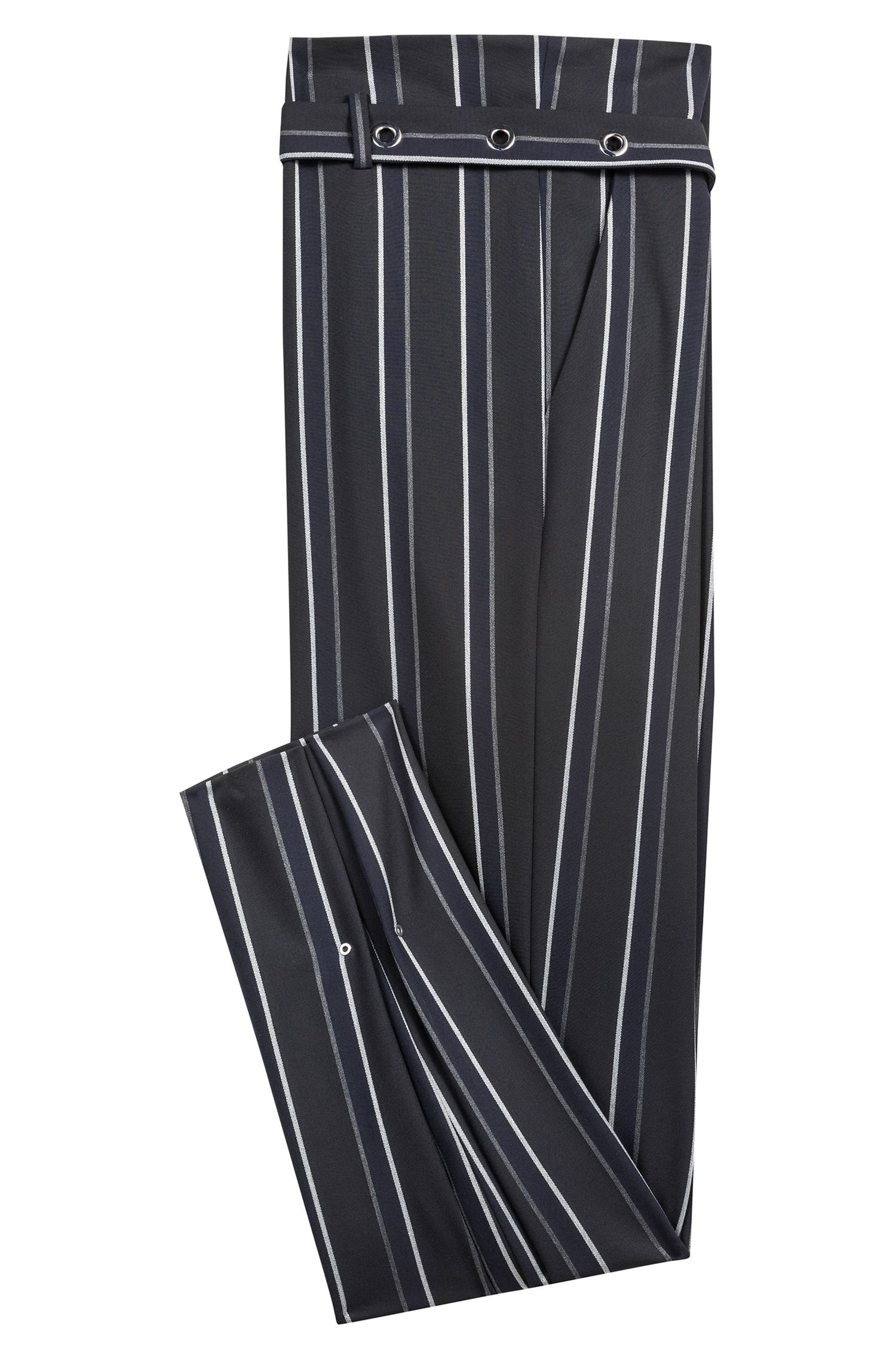 Pantalones paper bag con corte relaxed fit y rayas verticales, Negro