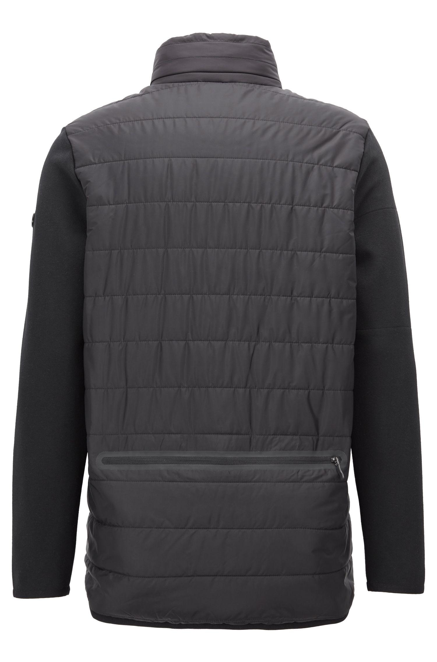 Slim-fit jas van een katoenmix met afneembare rugtas, Zwart