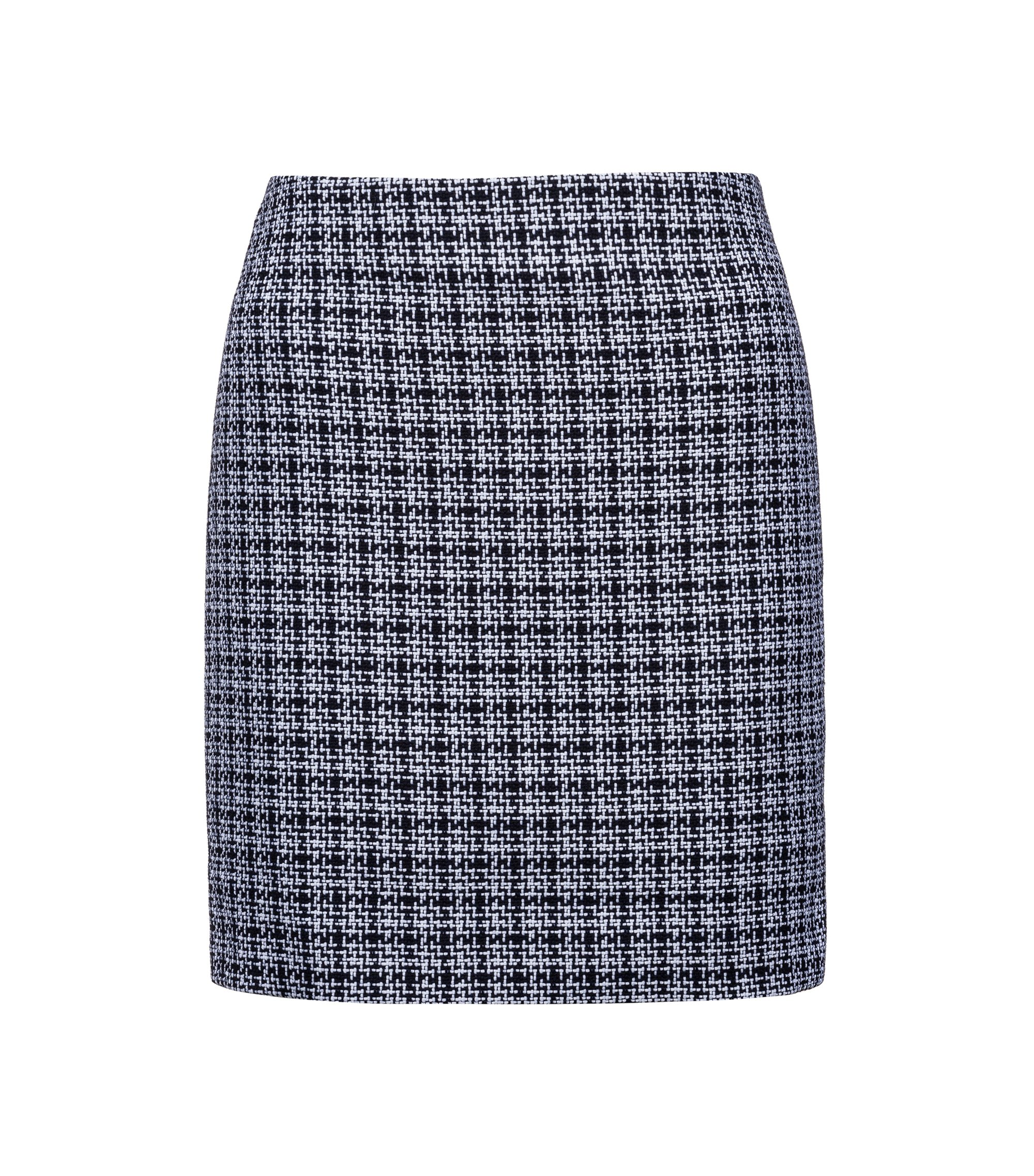 Pencil miniskirt in mid-weight tweed, Patterned