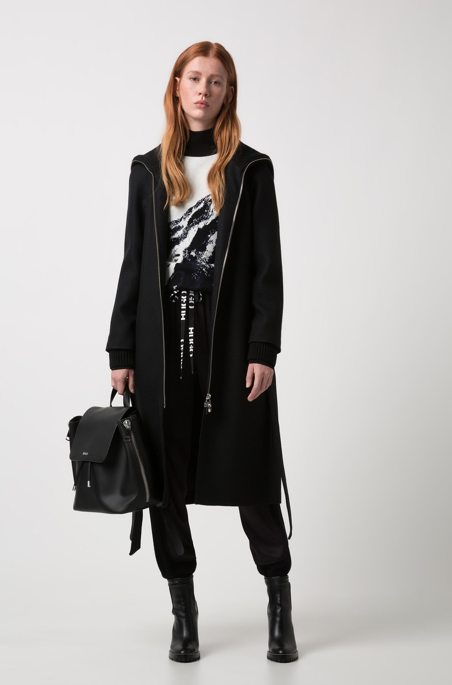 Relaxed-fit wool-blend coat with roll-neck collar