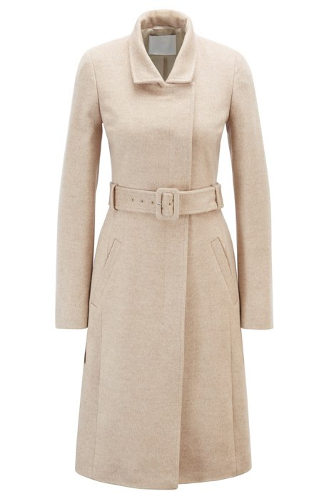 Belted coat in Italian virgin wool with high collar, Beige