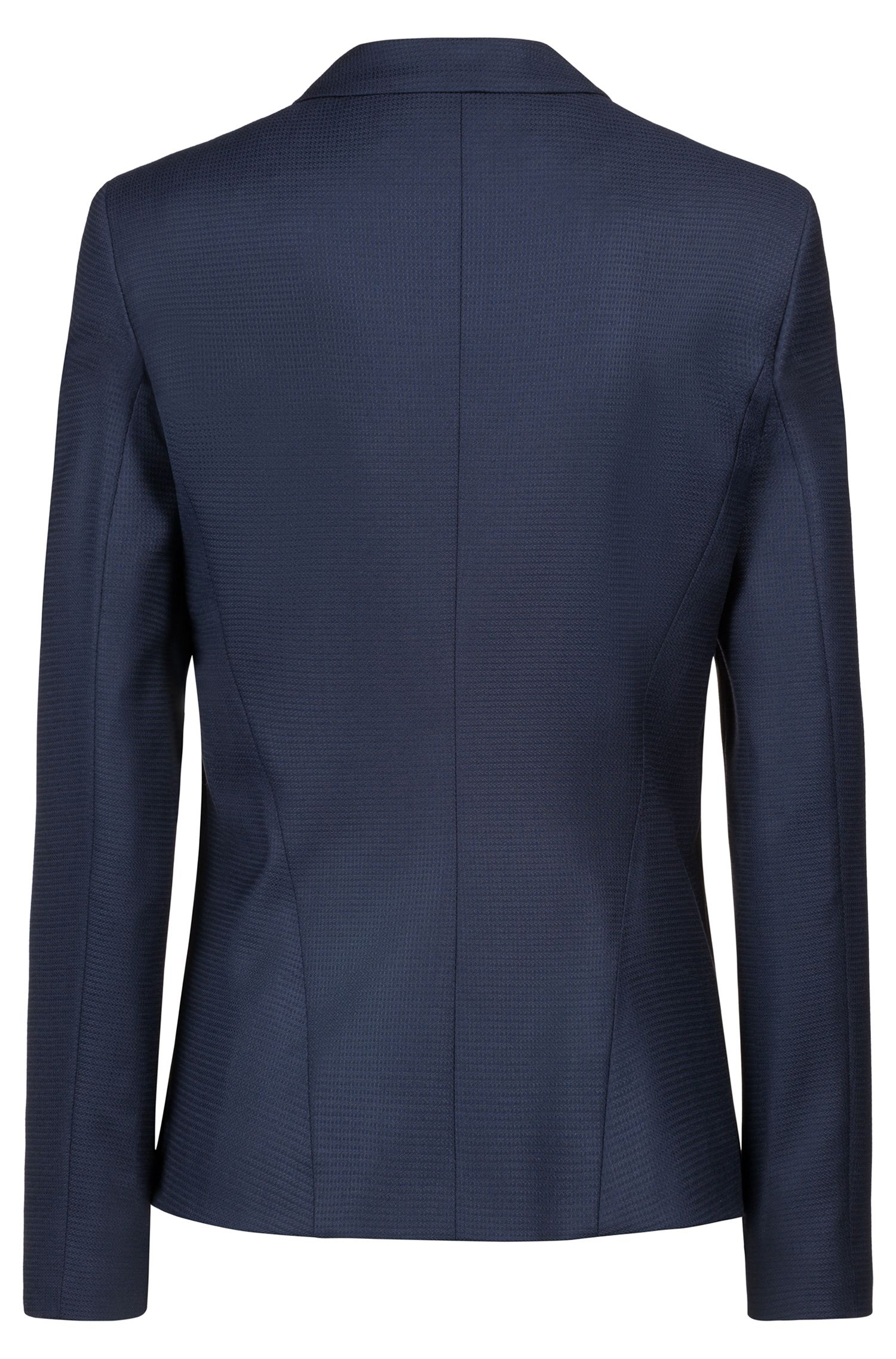 Regular-fit blazer in structured virgin wool, Dark Blue