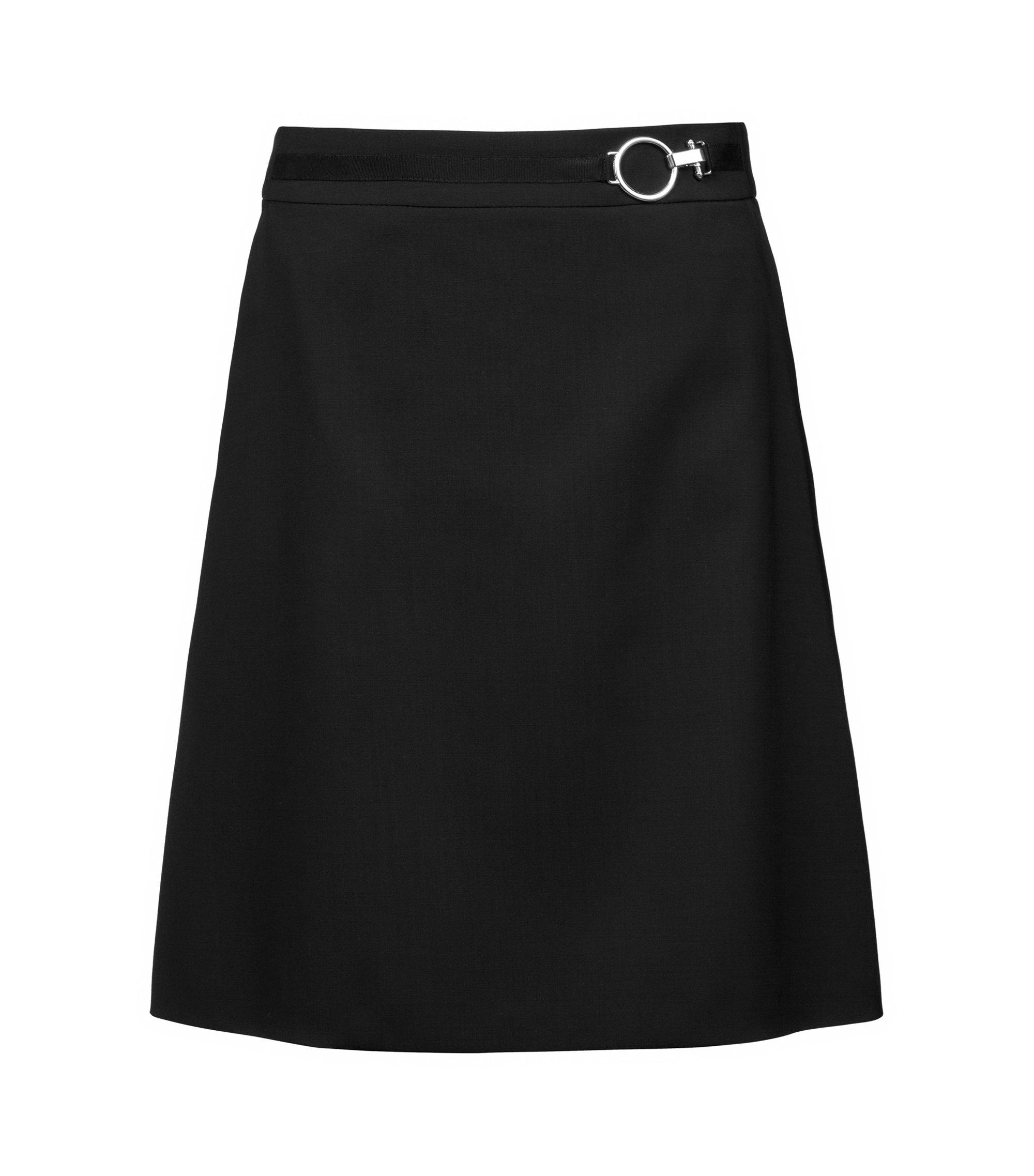 Falda evasé en lana virgen elástica con hebilla de efecto plateado, Negro