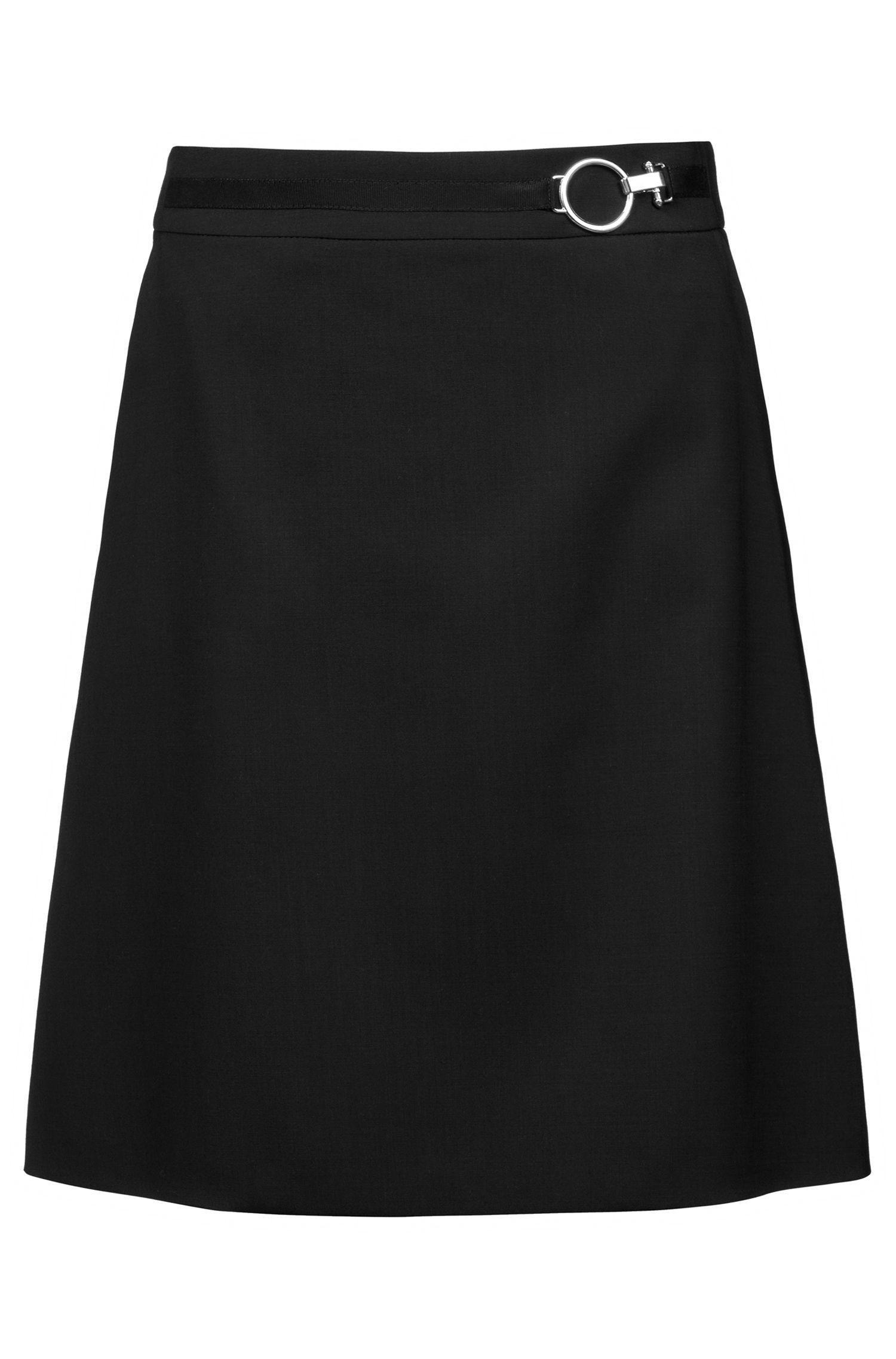 A-Linien-Rock aus Stretch-Schurwolle mit silberfarbener Schließe, Schwarz