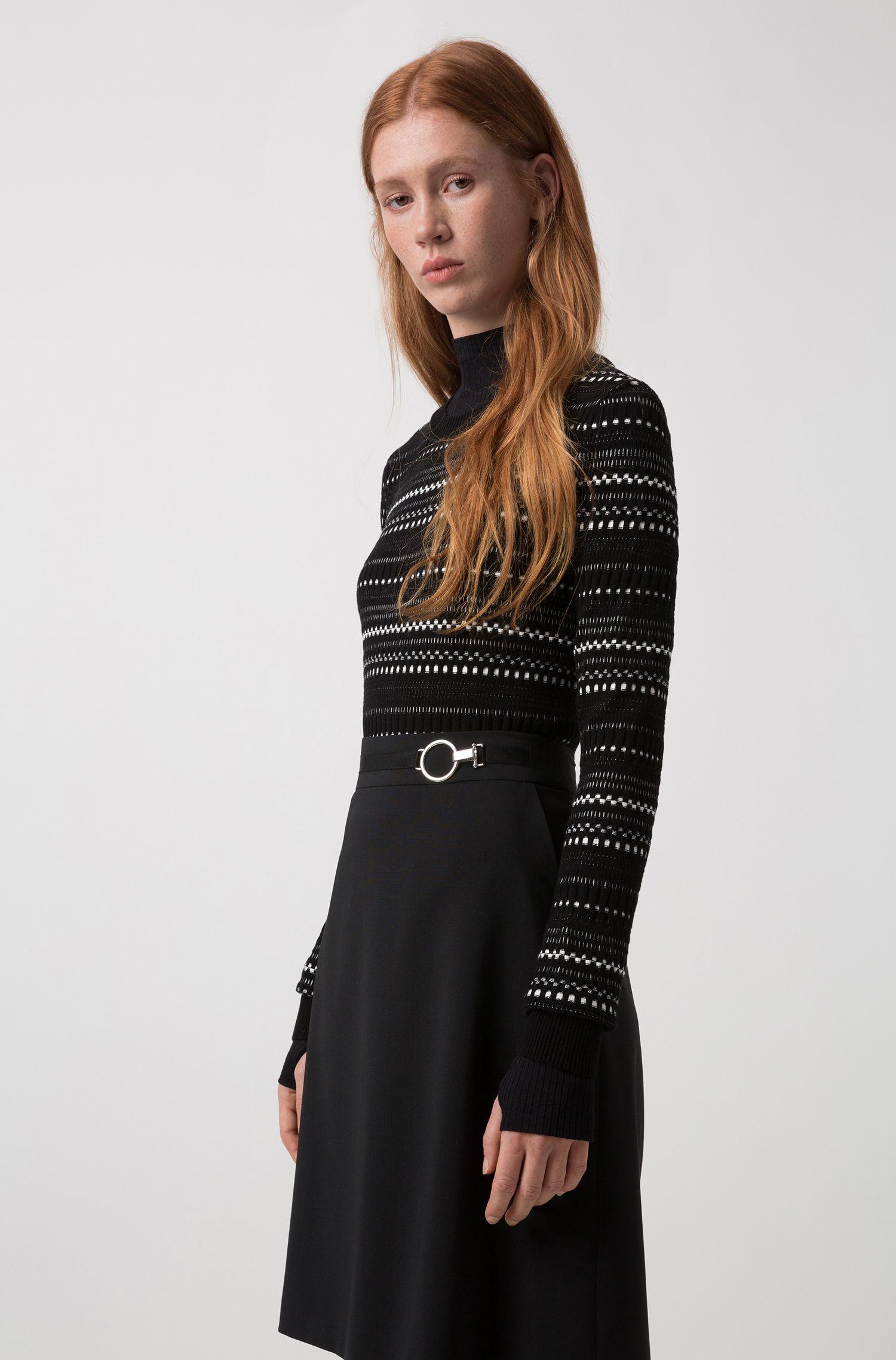 Jupe évasée en laine vierge stretch avec boucle à effet argenté