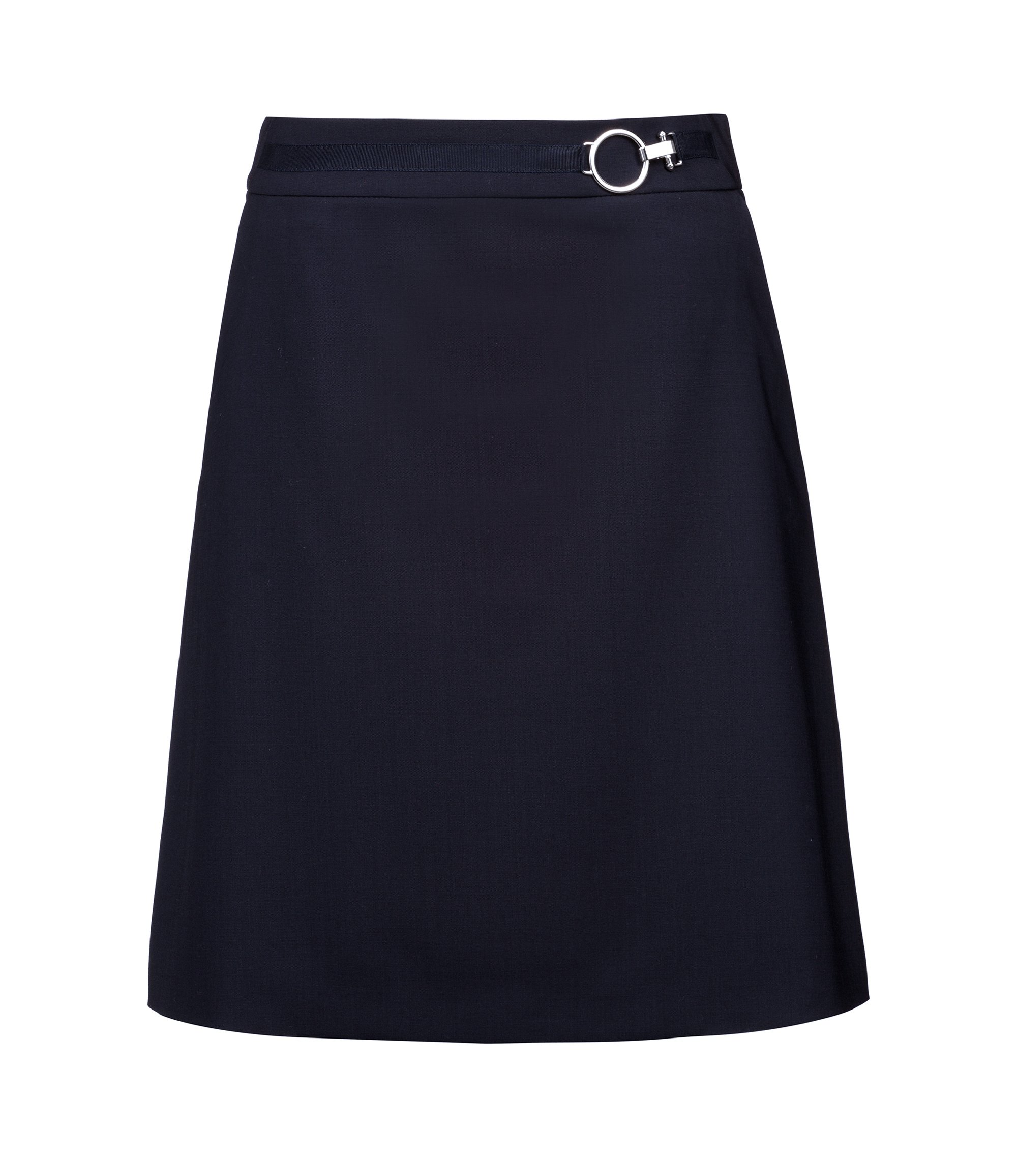 A-line skirt in stretch virgin wool with silver-effect buckle, Dark Blue