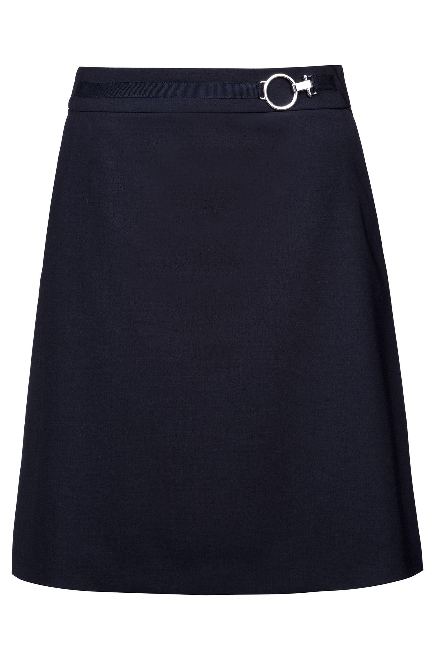 Jupe évasée en laine vierge stretch avec boucle à effet argenté, Bleu foncé