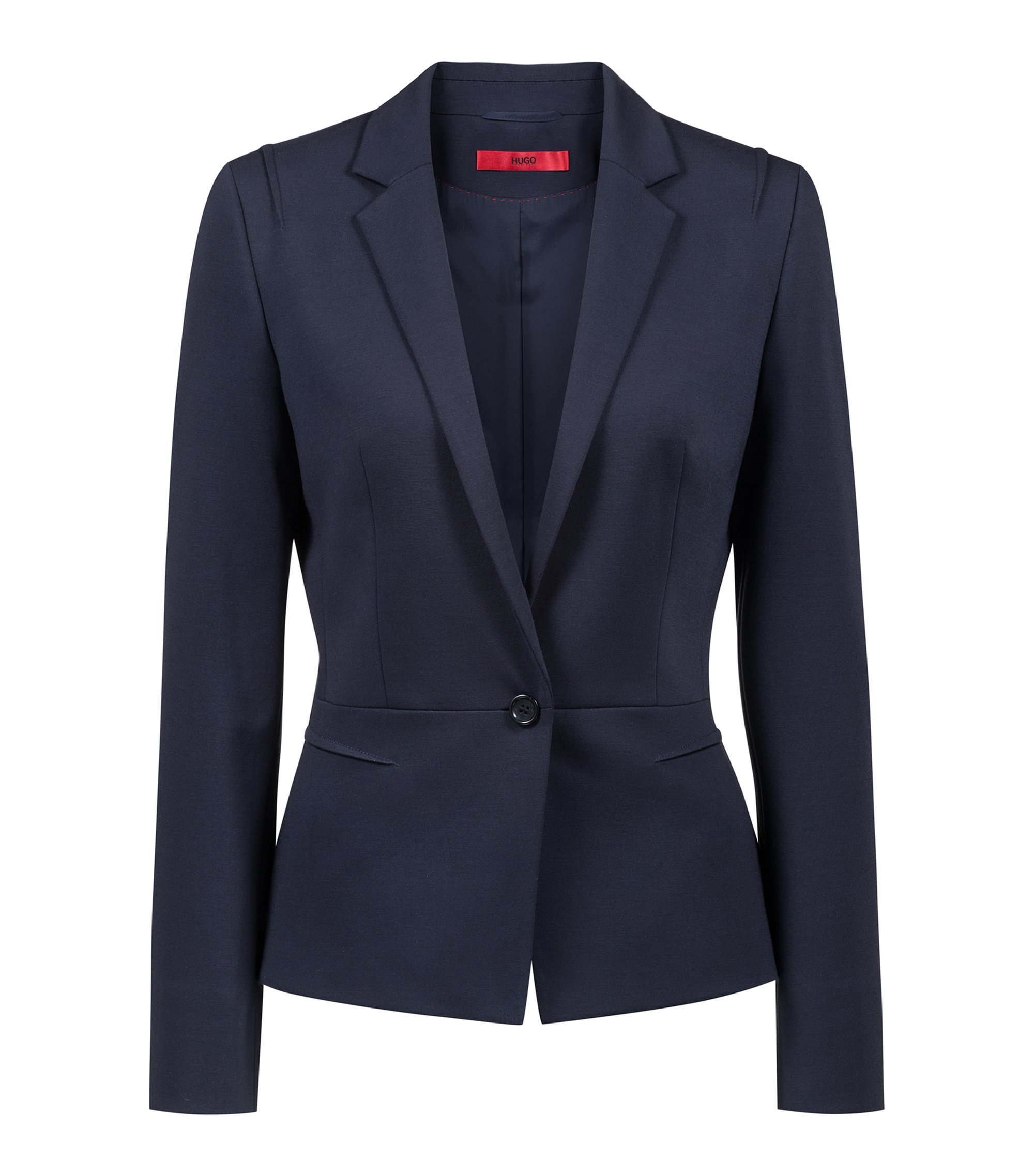 Regular-fit one-button jacket in open-cut jersey, Blue