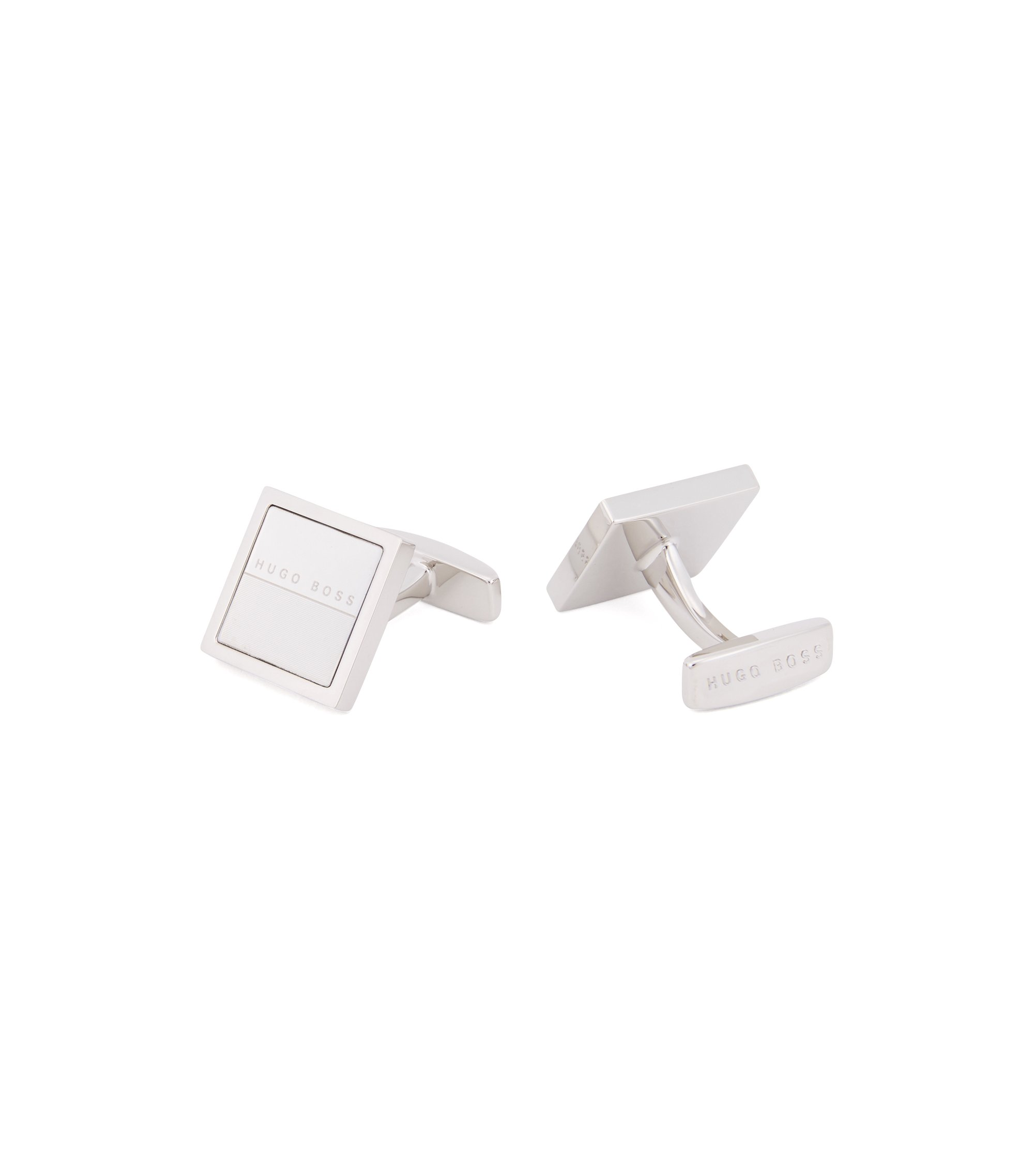 Hand-polished square cufflinks with lasered detailing, Silver