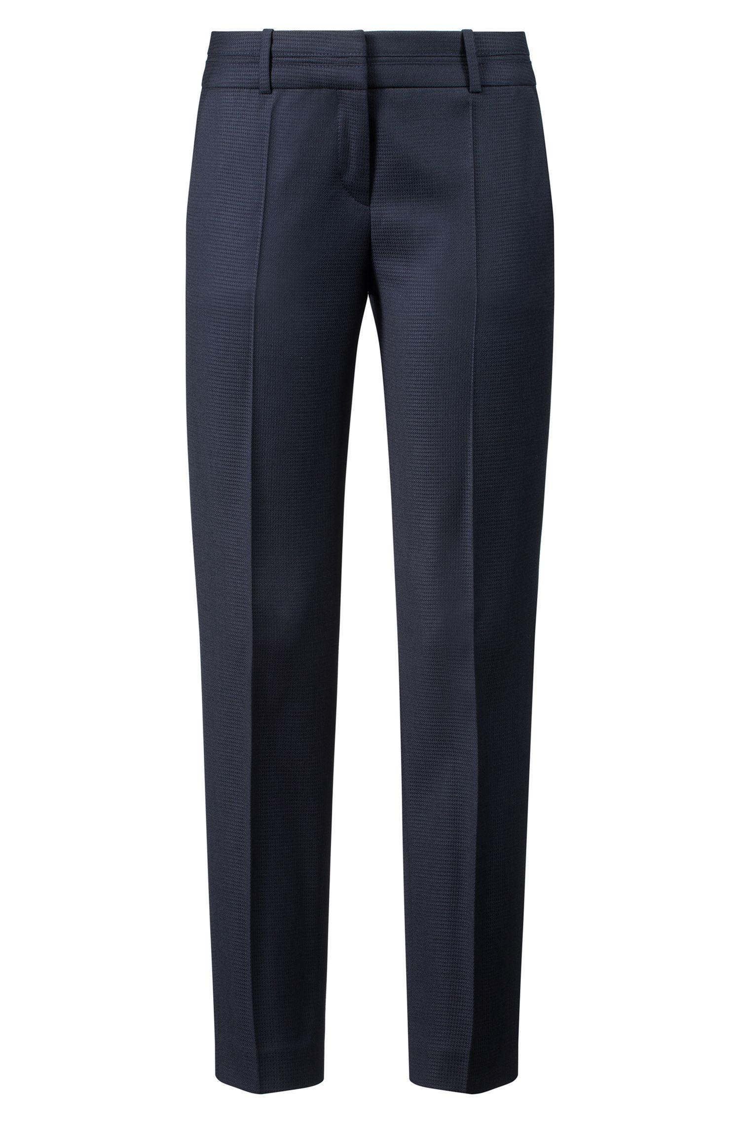 Pantalon Slim Fit en laine vierge structurée, Bleu foncé