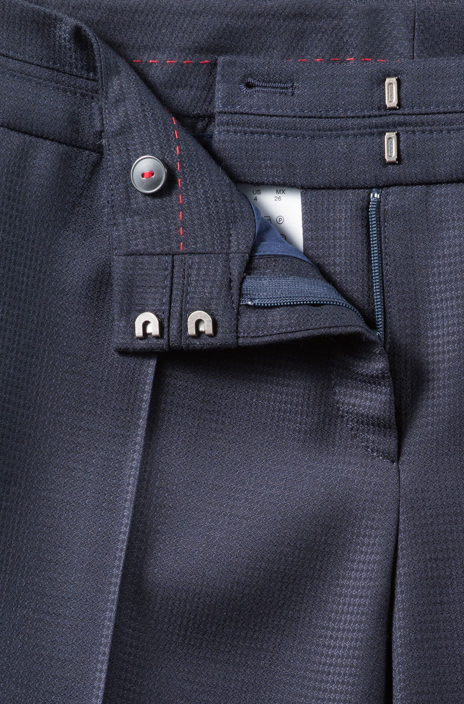 Slim-fit trousers in structured virgin wool, Dark Blue