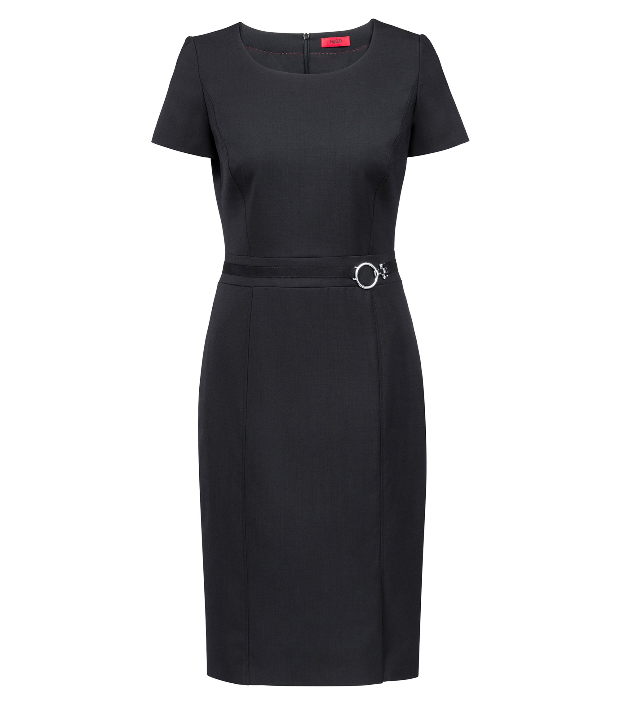 Pencil dress in stretch virgin wool with silver-tone buckle, Black