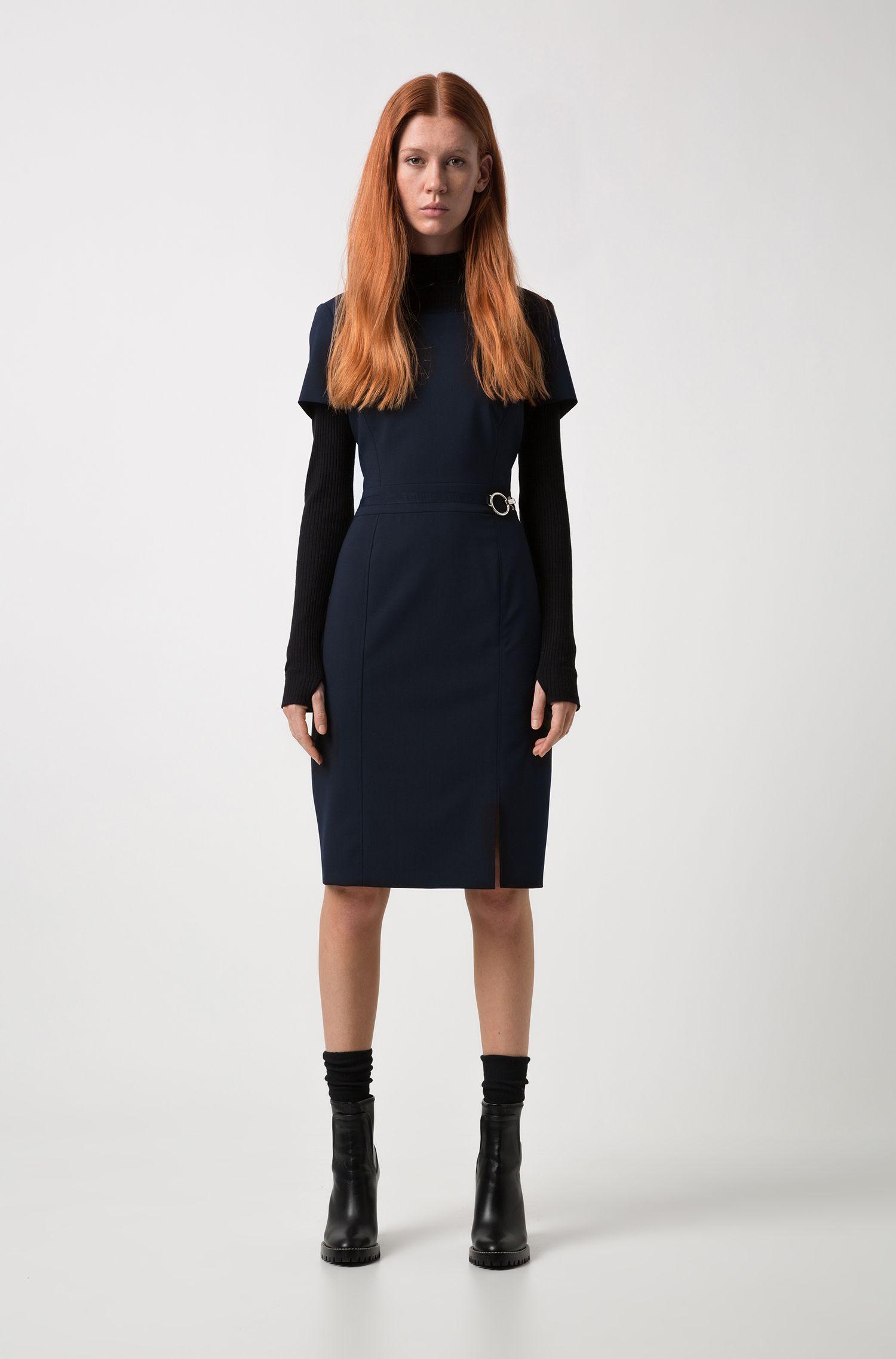 Pencil dress in stretch virgin wool with silver-tone buckle, Dark Blue