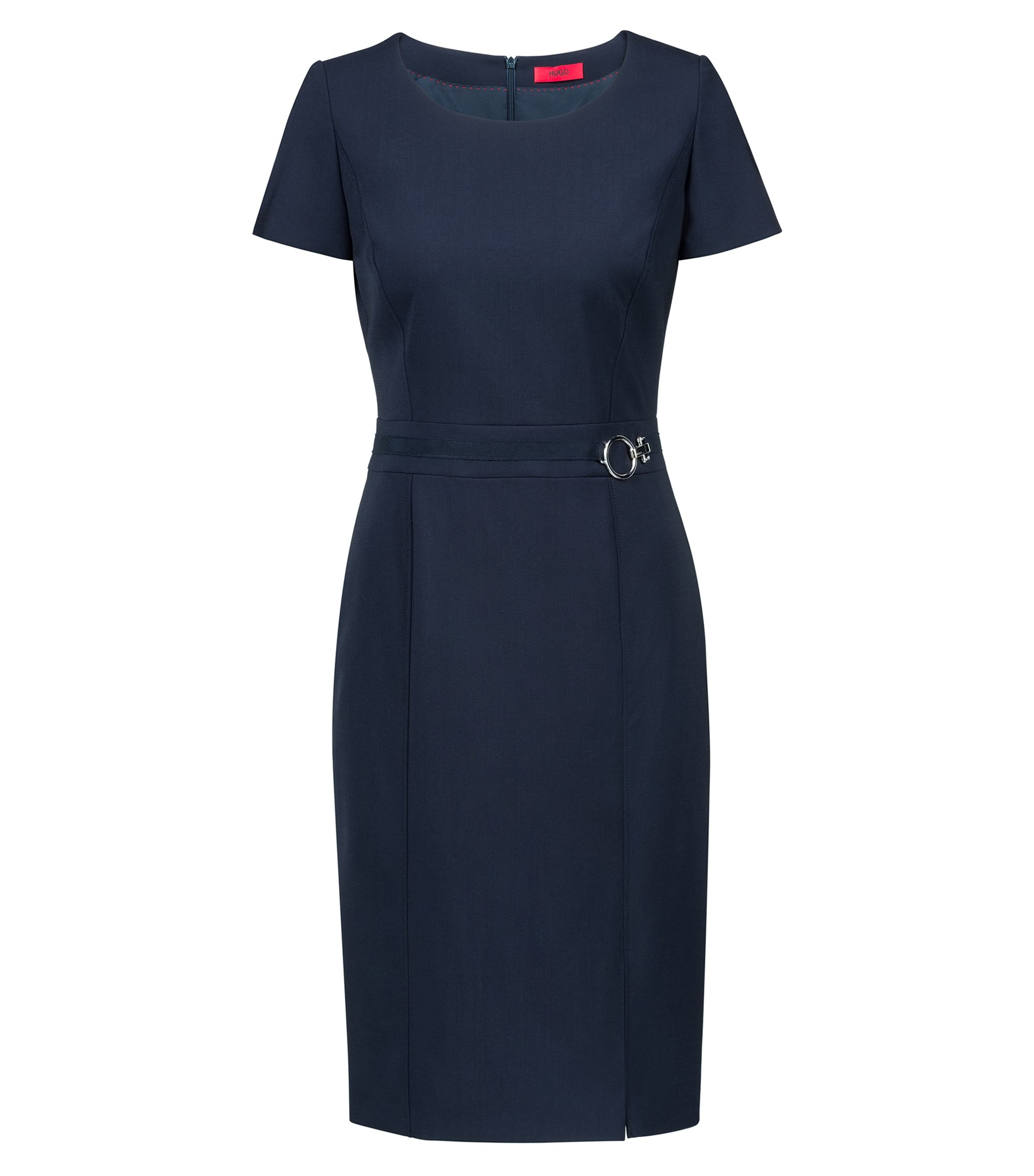 Pencil dress in stretch virgin wool with silver-tone buckle, Dark Blue