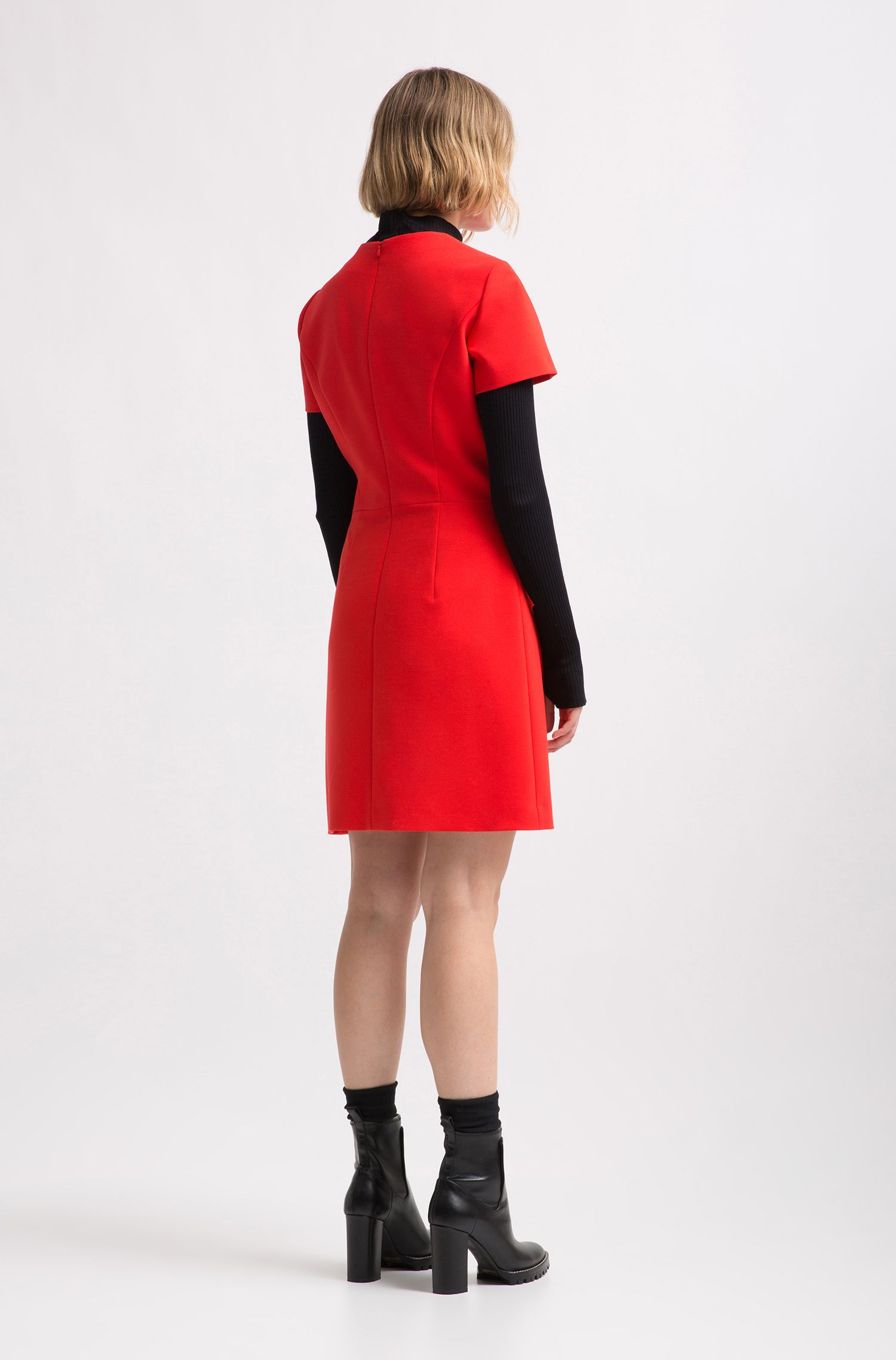 Short-sleeve dress with zipped volant detail, Red