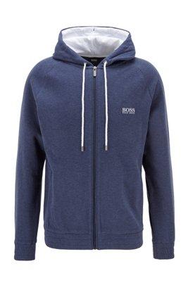 Meliertes Kapuzen-Sweatshirt aus zweiseitigem Baumwoll-Mix, Dunkelblau