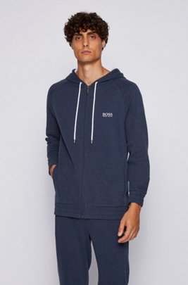 Hooded loungewear jacket in double-faced melange fabric, Dark Blue