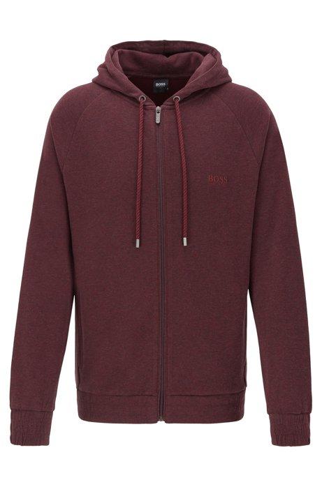 Hooded loungewear jacket in double-faced melange fabric, Dark Red