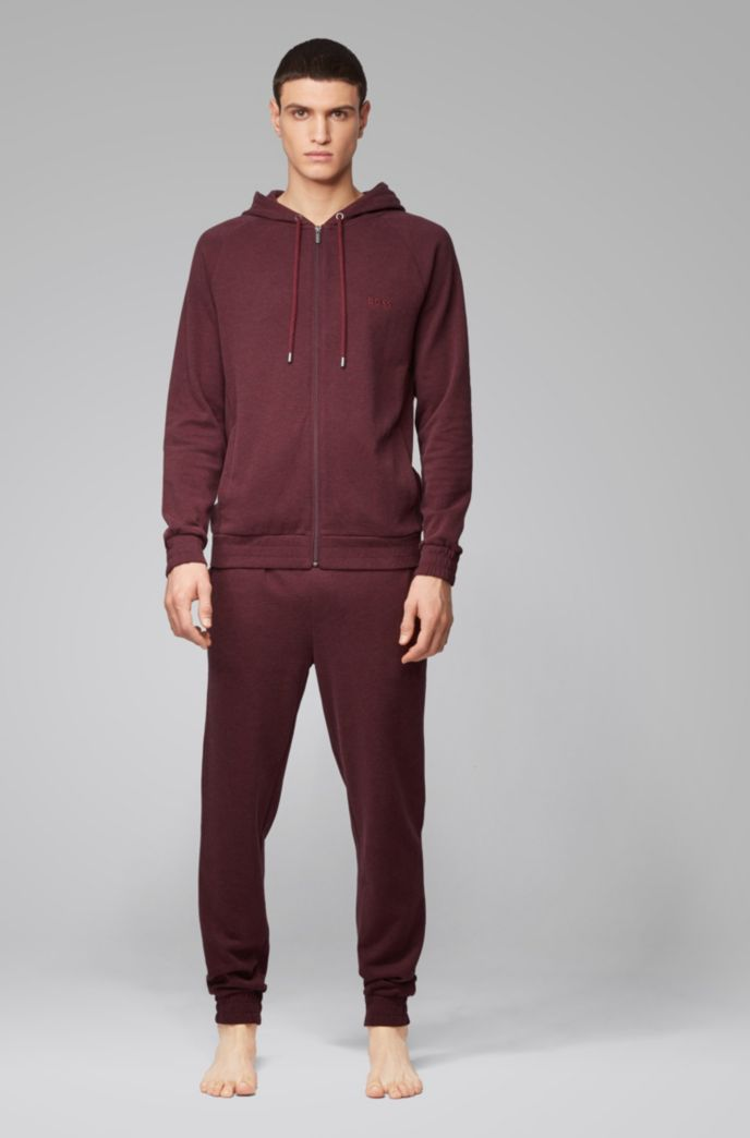Sudadera homewear con capucha en tejido jaspeado de doble cara