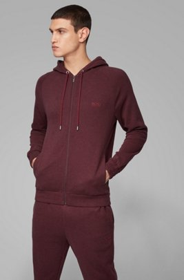 Sudadera homewear con capucha en tejido jaspeado de doble cara, Rojo oscuro