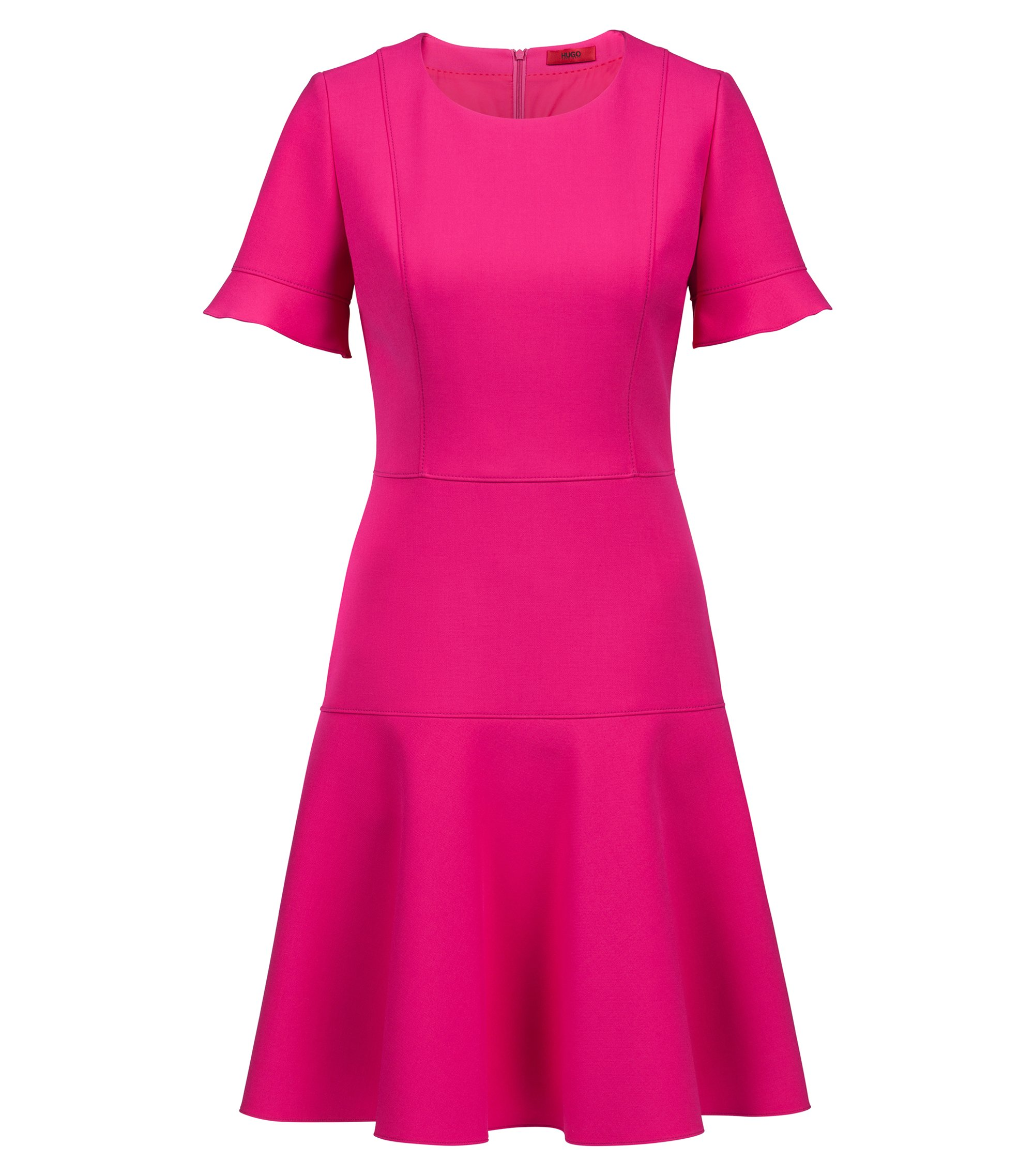 Short-sleeved dress in stretch fabric with flared skirt, Pink