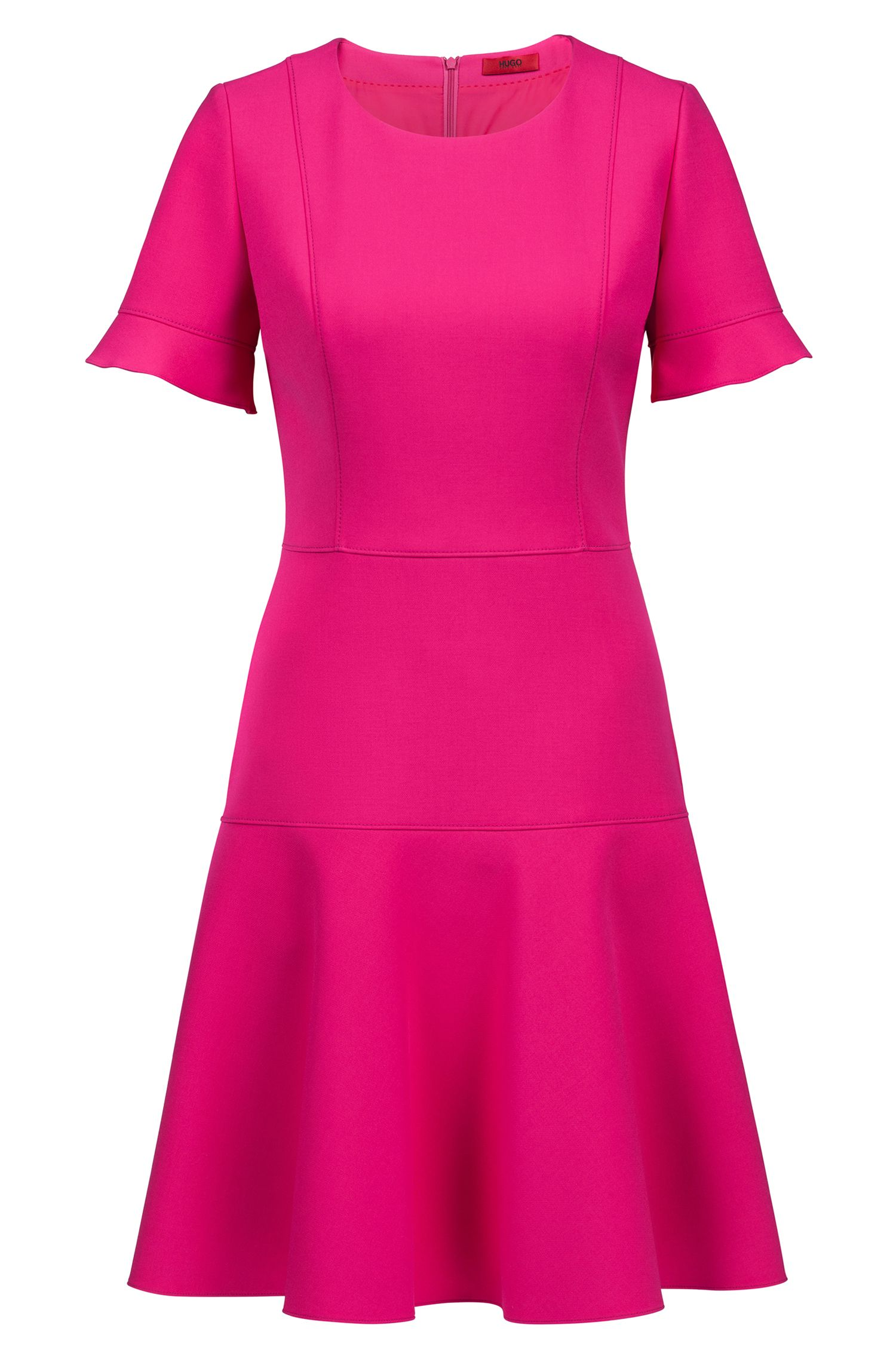 Short-sleeved dress in stretch fabric with flared skirt