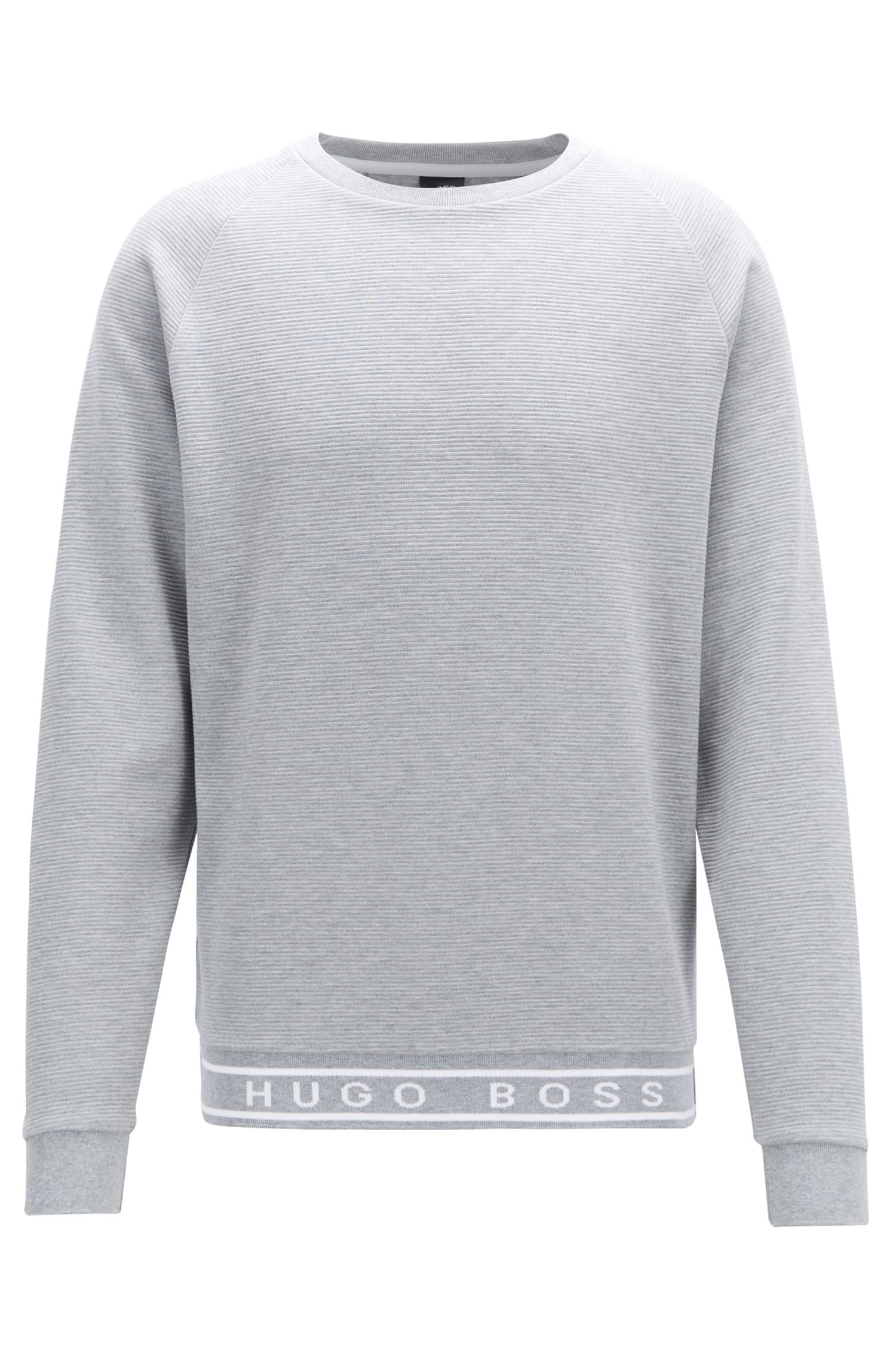 Logo-hem sweatshirt in mélange cotton interlock, Grey