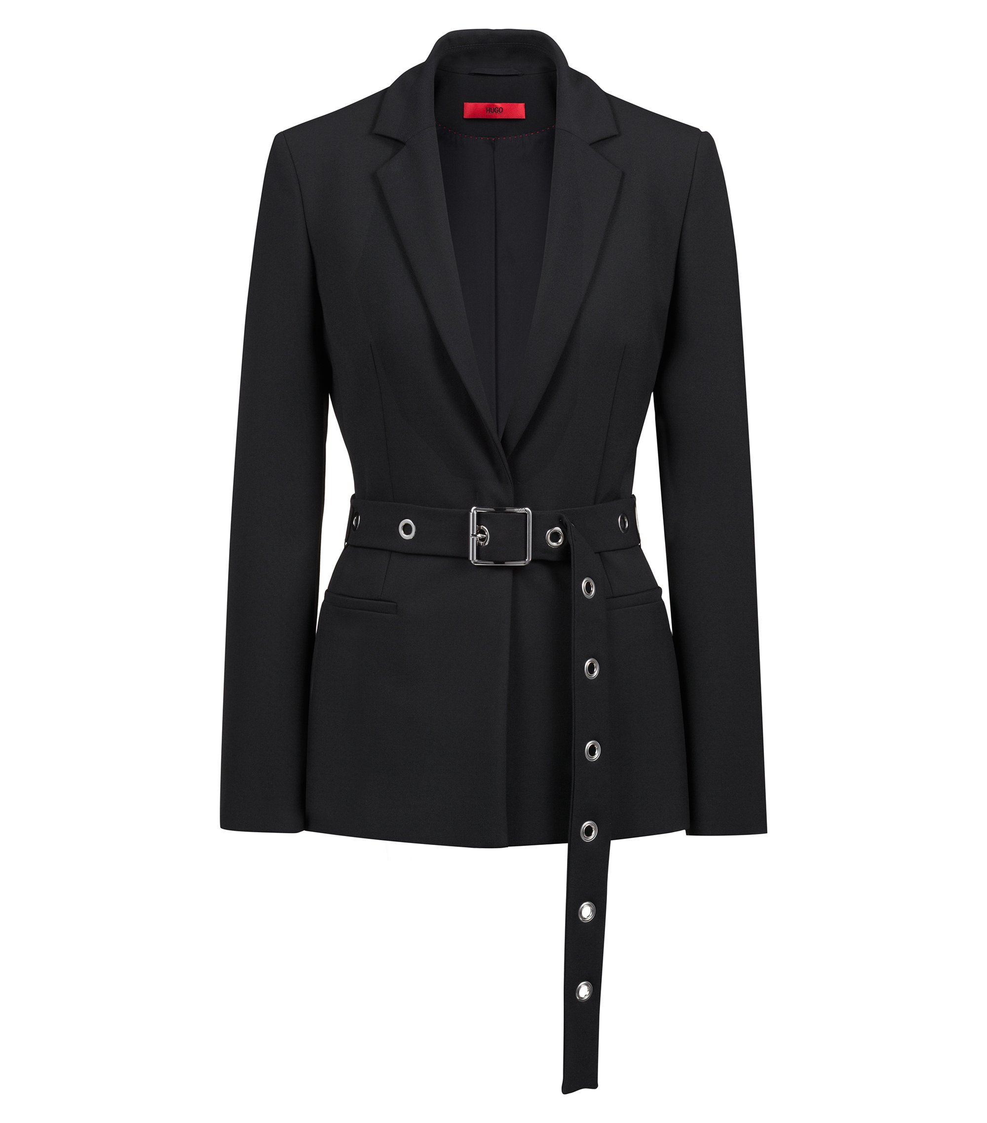 Regular-fit jacket with metallic-eyelet belt, Black