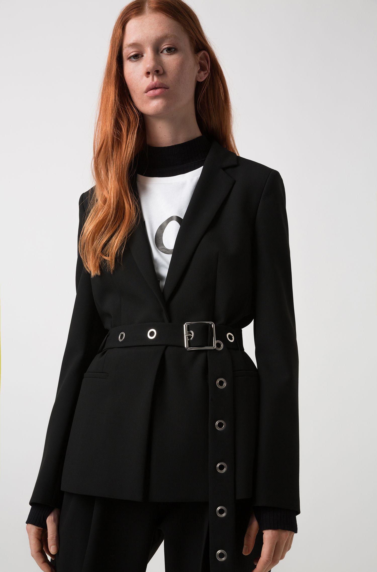 Regular-fit jacket with metallic-eyelet belt, Black