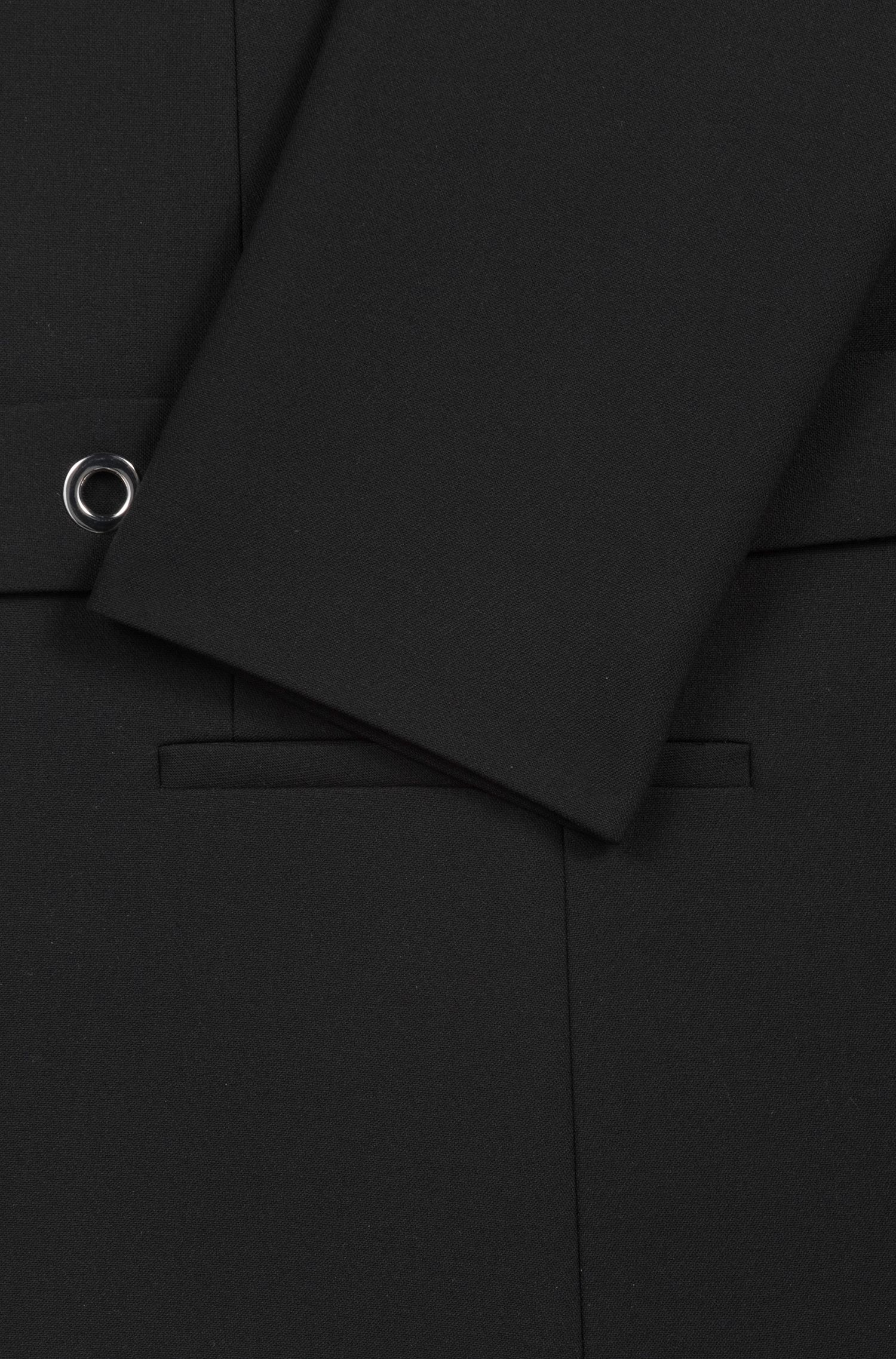 Regular-Fit Blazer mit Metallösen auf dem Gürtel, Schwarz