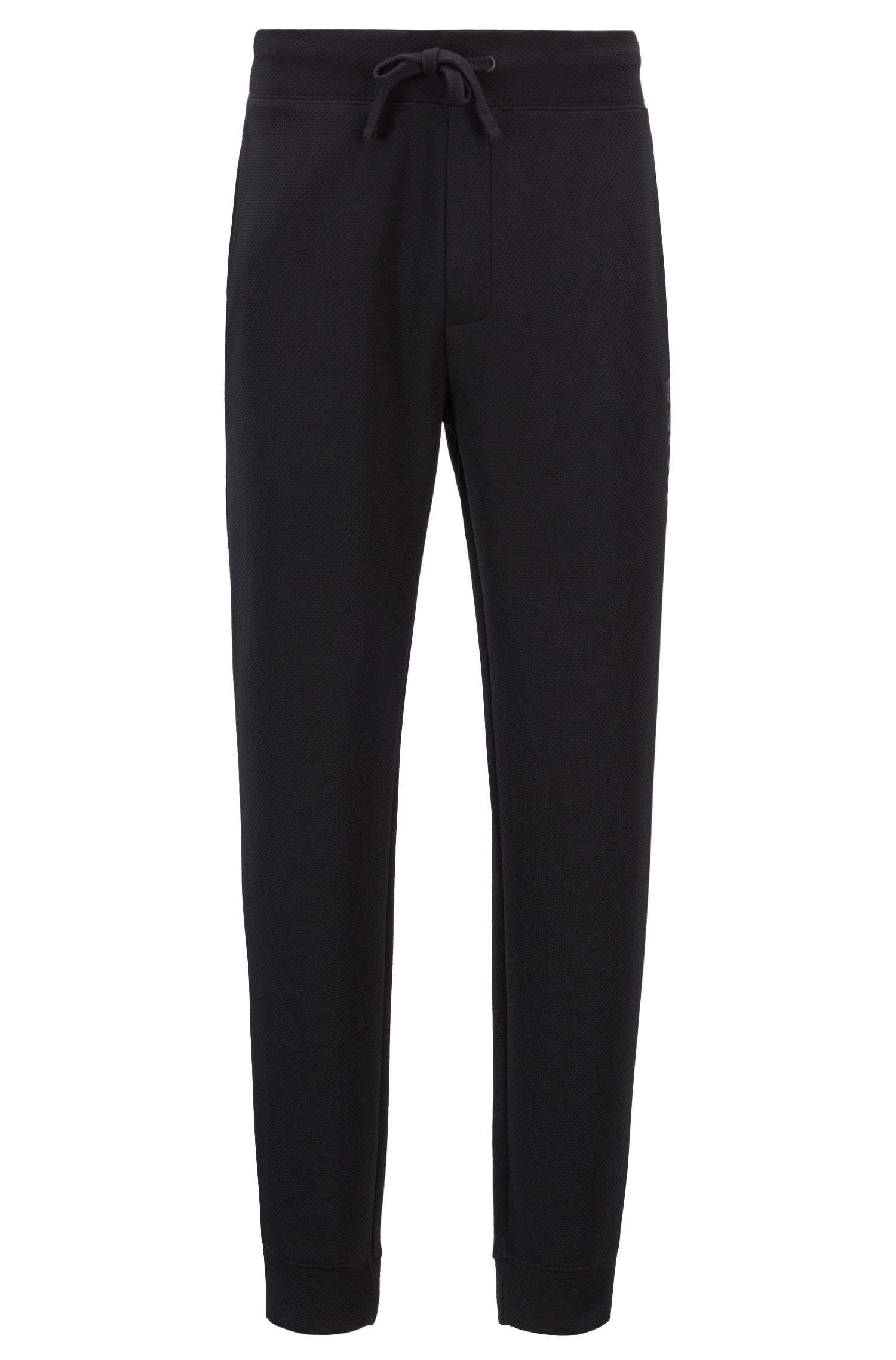 Cuffed loungewear trousers in piqué fabric, Black